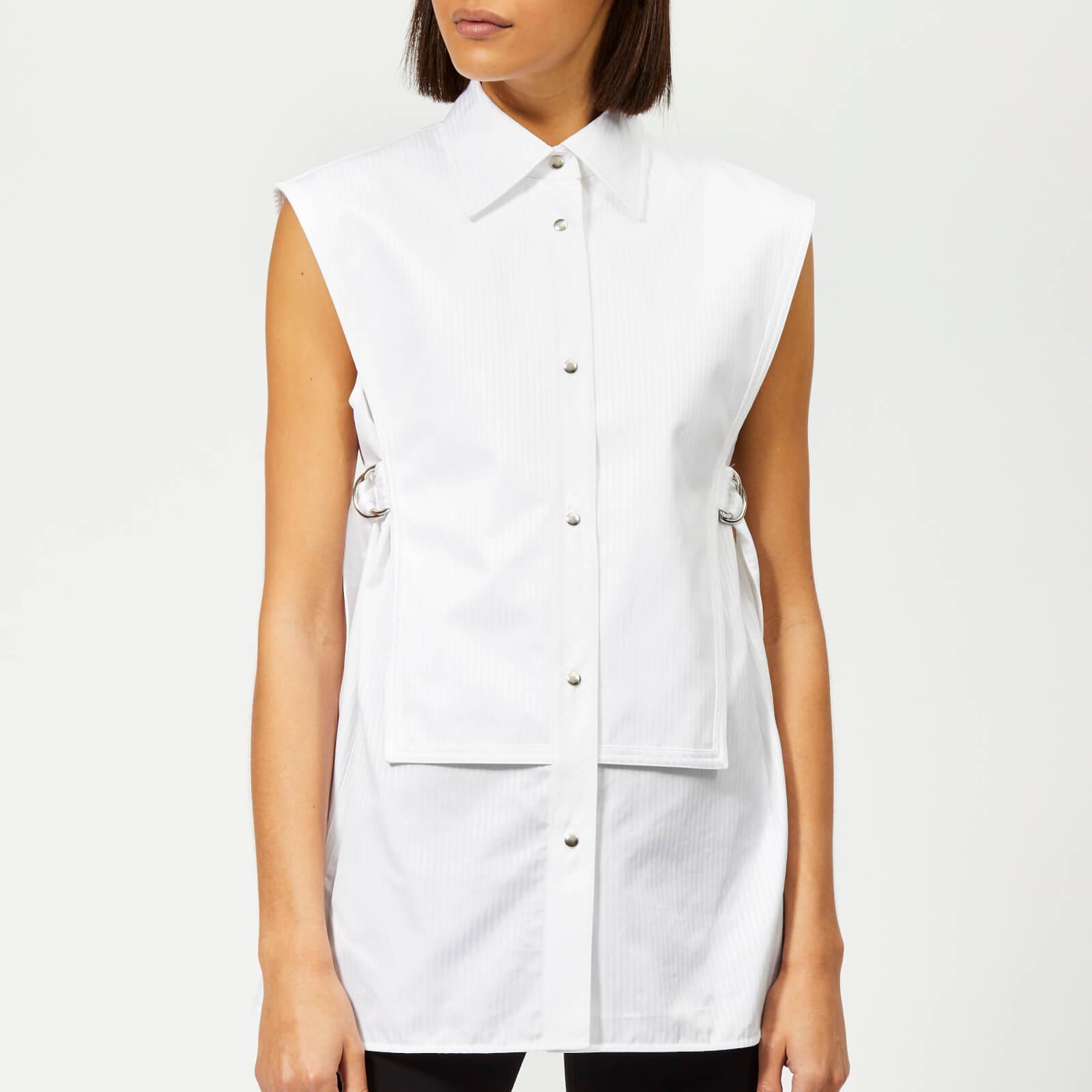 bcf35710 Helmut Lang Women's Sleeveless Bib Shirt - White Satin - Free UK Delivery  over £50