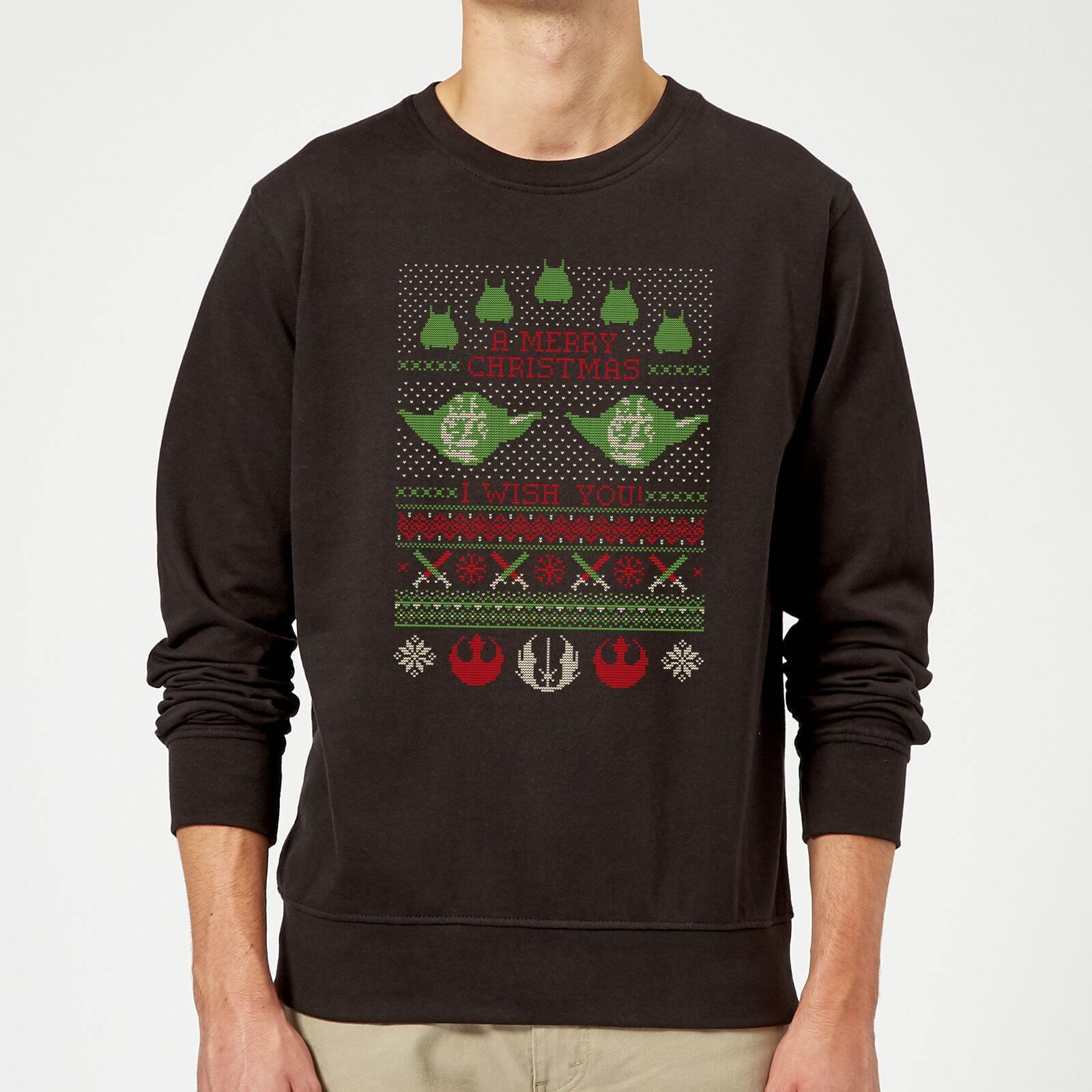 Star Wars Yoda You a Merry Christmas We Wish Knit Pattern Mens Sweatshirt