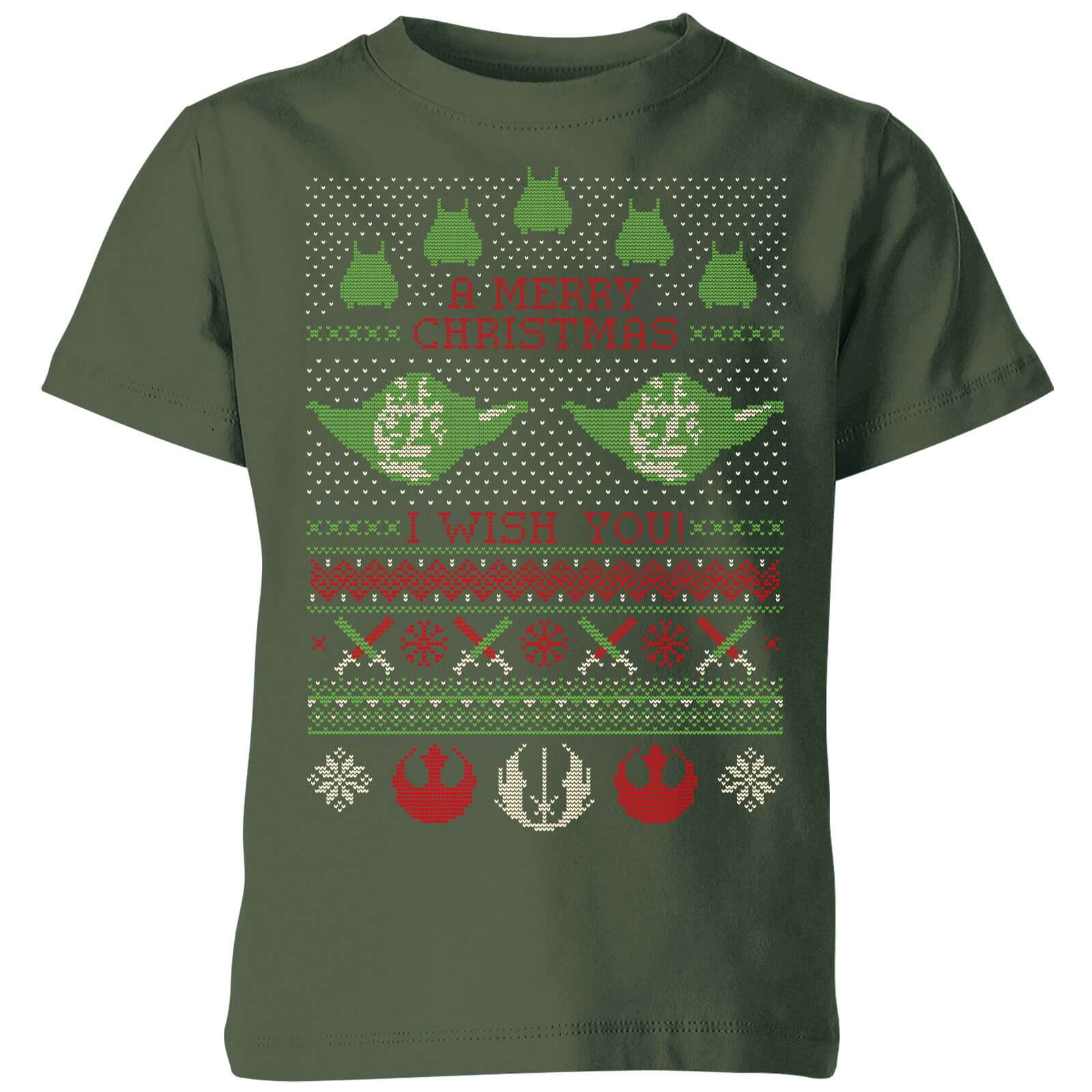 554292b9 Star Wars Merry Christmas I Wish You Knit Kids Christmas T-Shirt - Forest  Green | IWOOT