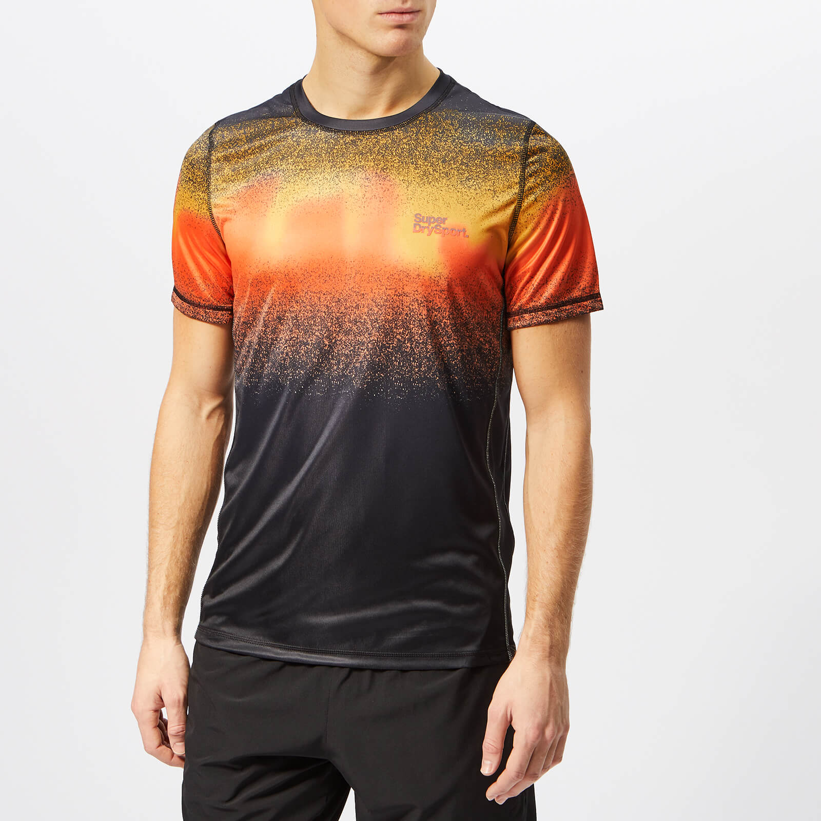 separation shoes f37e8 7bf3b Superdry Sport Men's Active Ombre Short Sleeve T-Shirt - Ink Orange Ombre  Splat