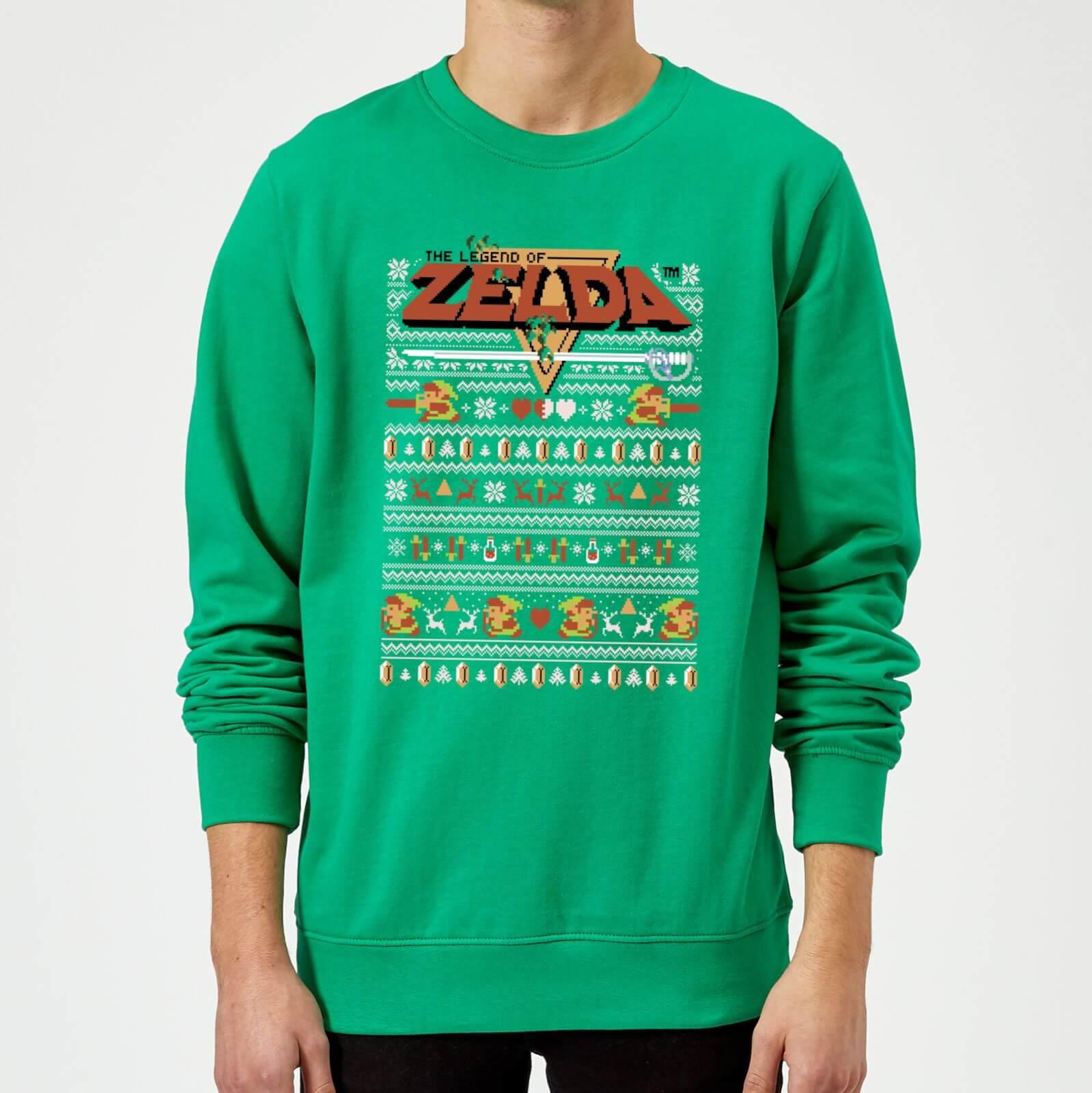 Nintendo Christmas Zelda Pattern Sweatshirt - Kelly Green   Pop In A ...