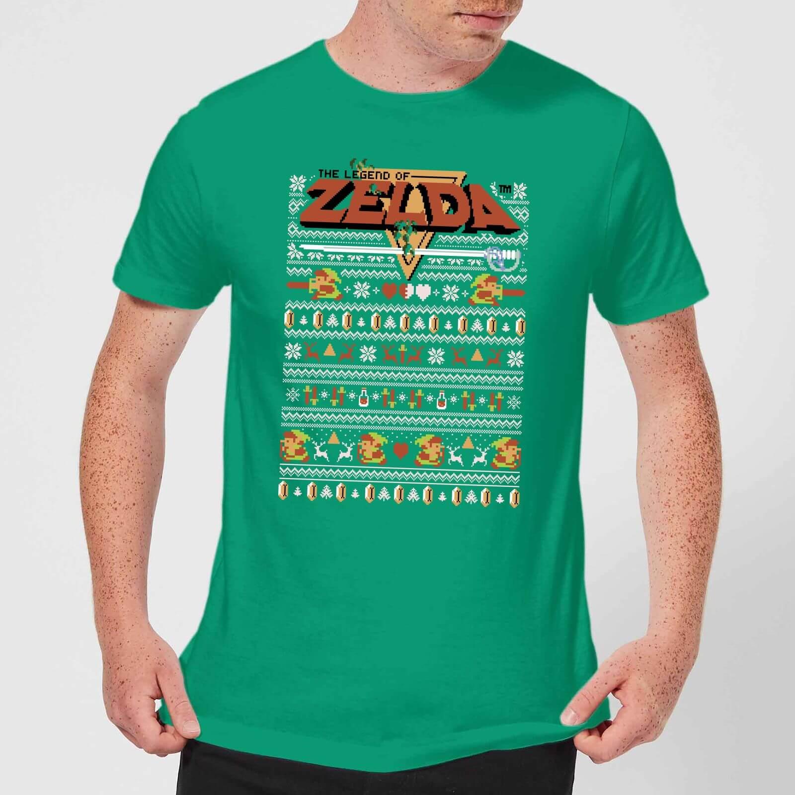 5668fdefe Nintendo Legend Of Zelda Pattern Men's Christmas T-Shirt - Kelly Green  Clothing | Zavvi