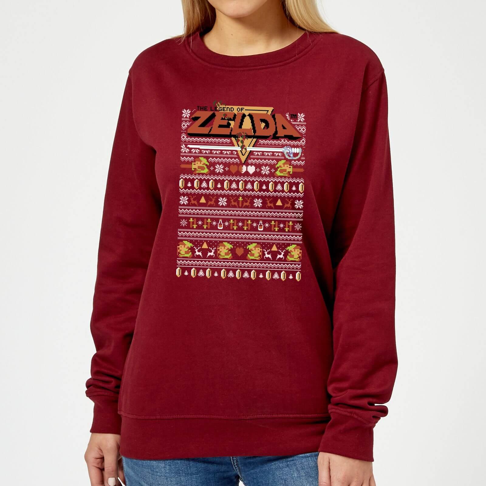 Nintendo Christmas Zelda Pattern Women\'s Sweatshirt - Burgundy ...