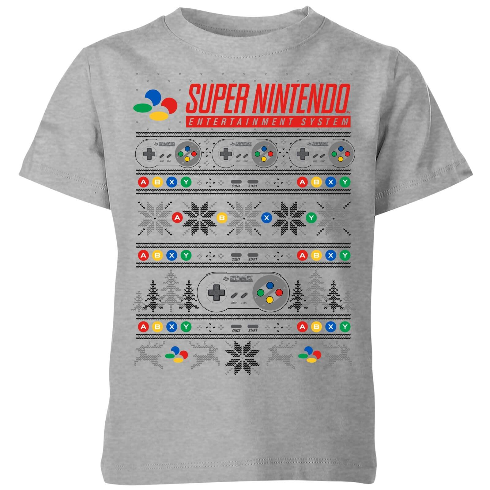 Nintendo Christmas SNES Pattern Kids\' T-Shirt - Grey | My Geek Box
