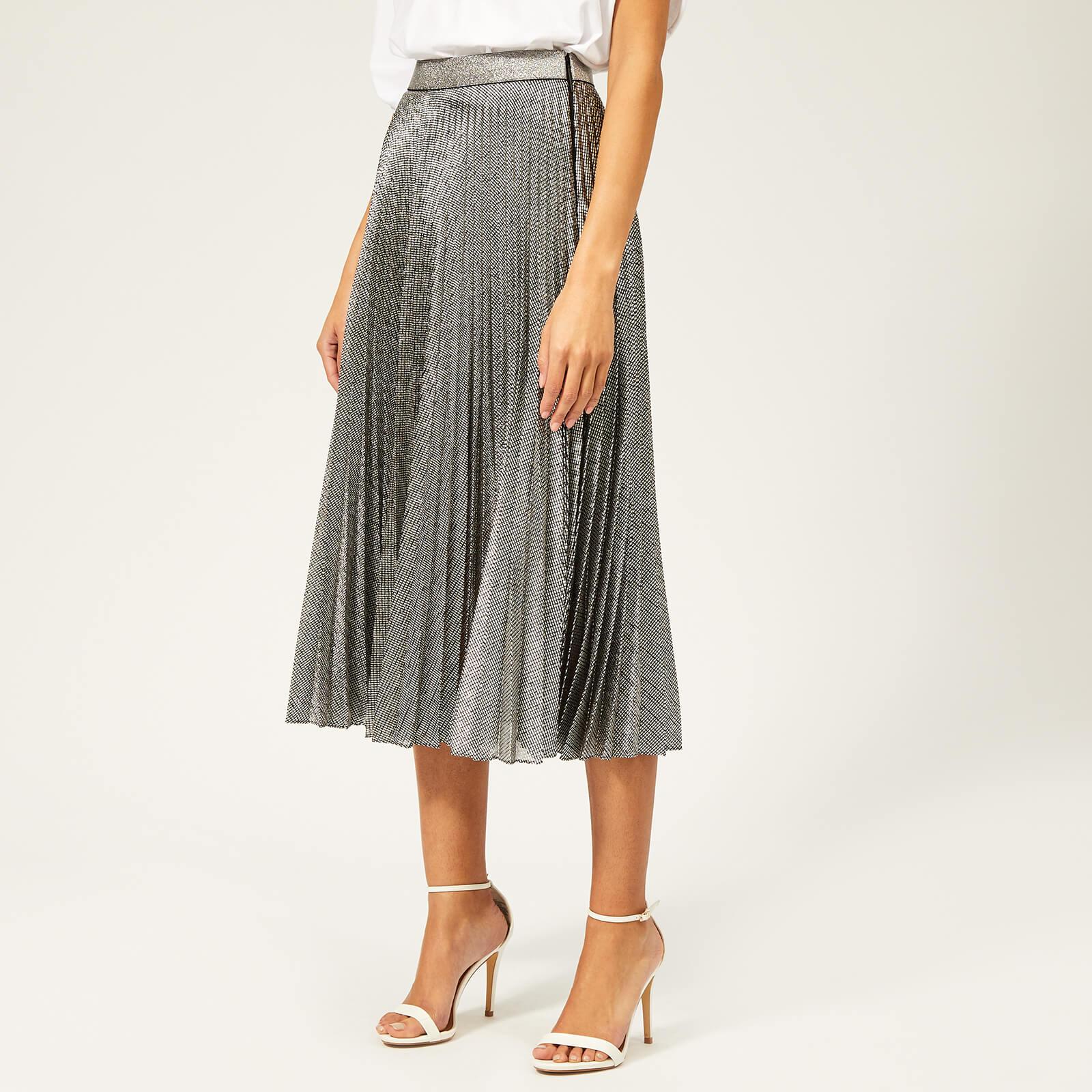7846b45245 Christopher Kane Women's Pleated Skirt Lame Mesh - Black/Silver ...