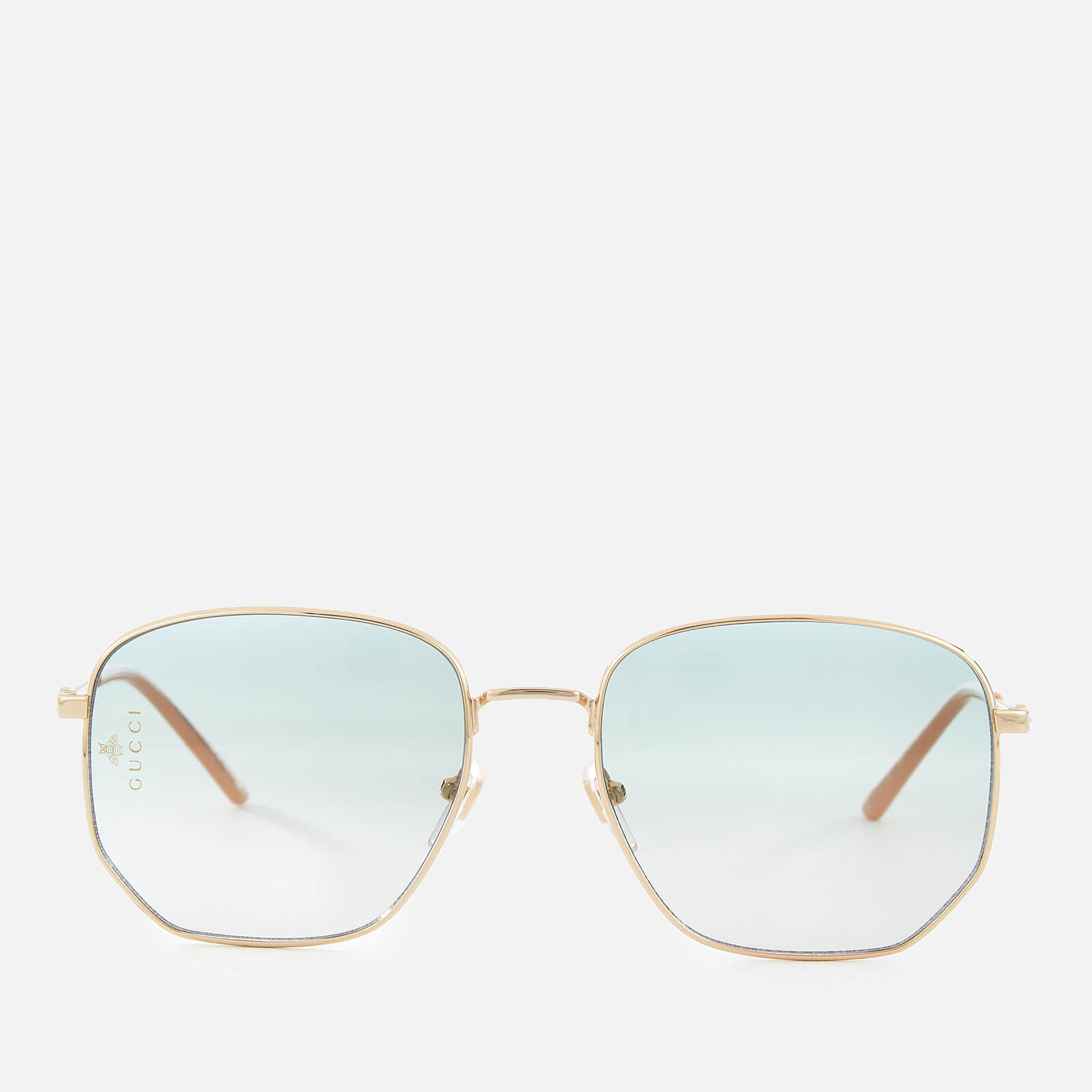 c1788c58d Gucci Women's Metal Square Frame Sunglasses - Gold/Green - Free UK Delivery  over £50