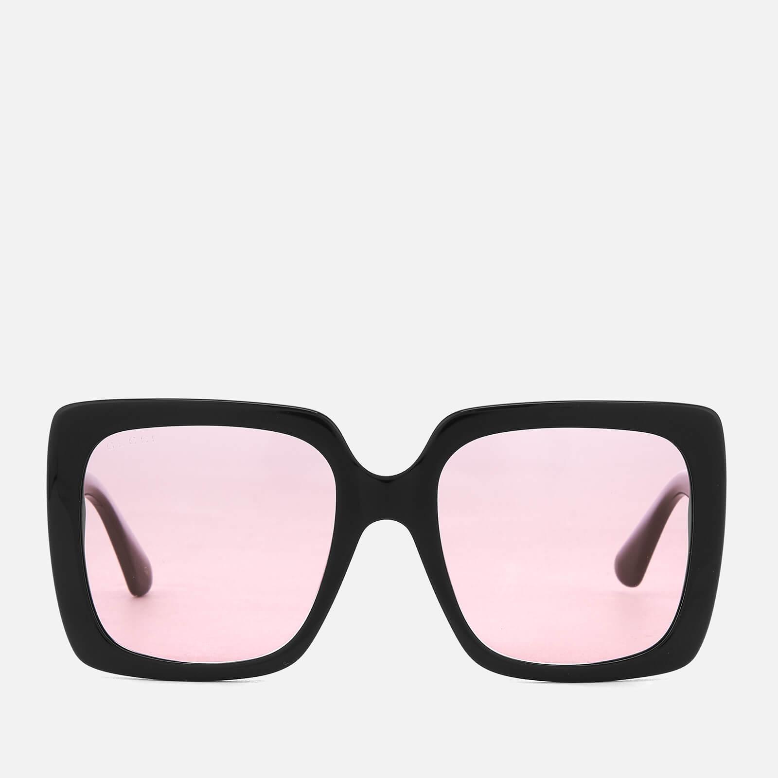 132c0d589da Gucci Women s Square Frame Acetate Sunglasses - Black Pink - Free UK  Delivery over £50
