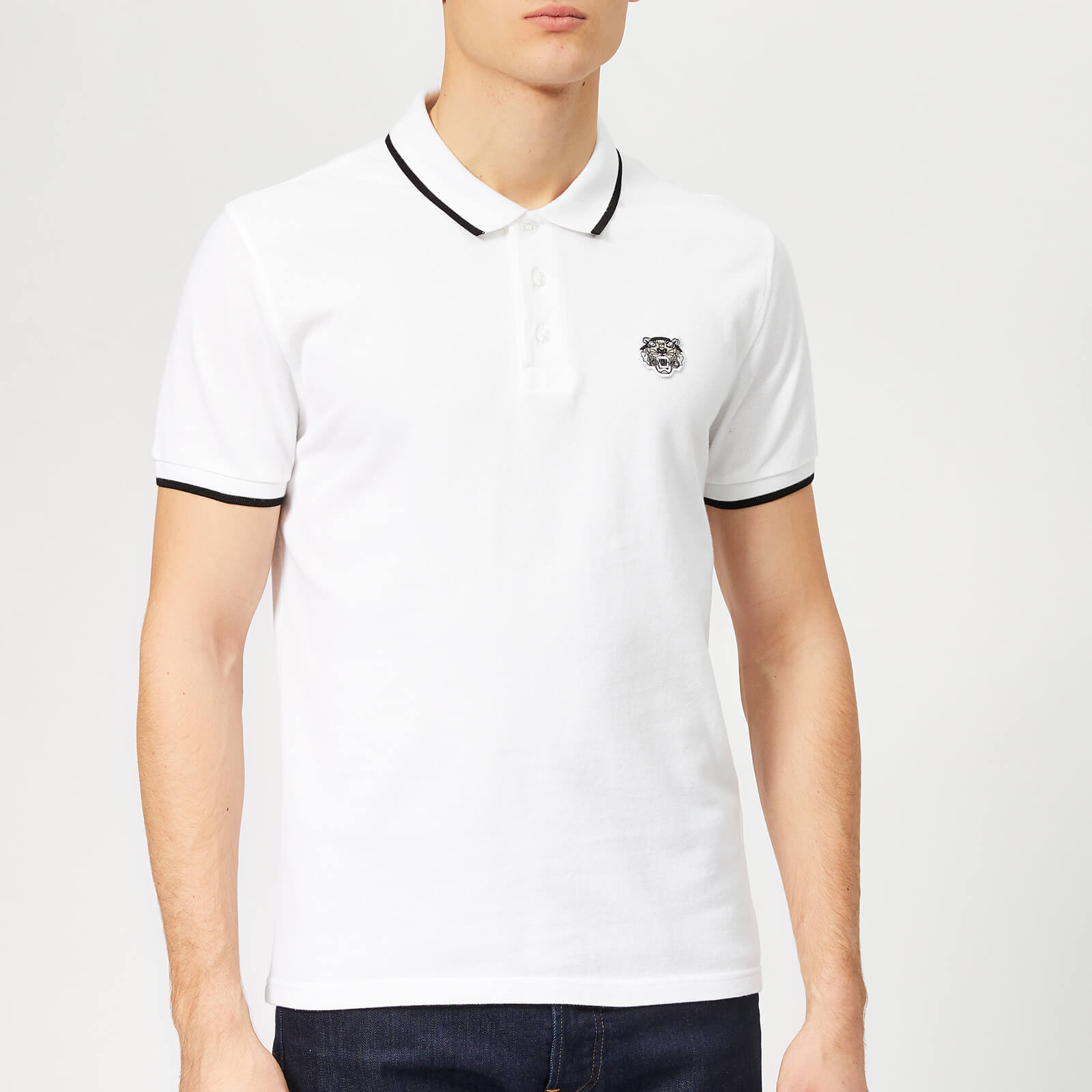 2f57961019dc KENZO Men's Tipped Polo Shirt - White - Free UK Delivery over £50