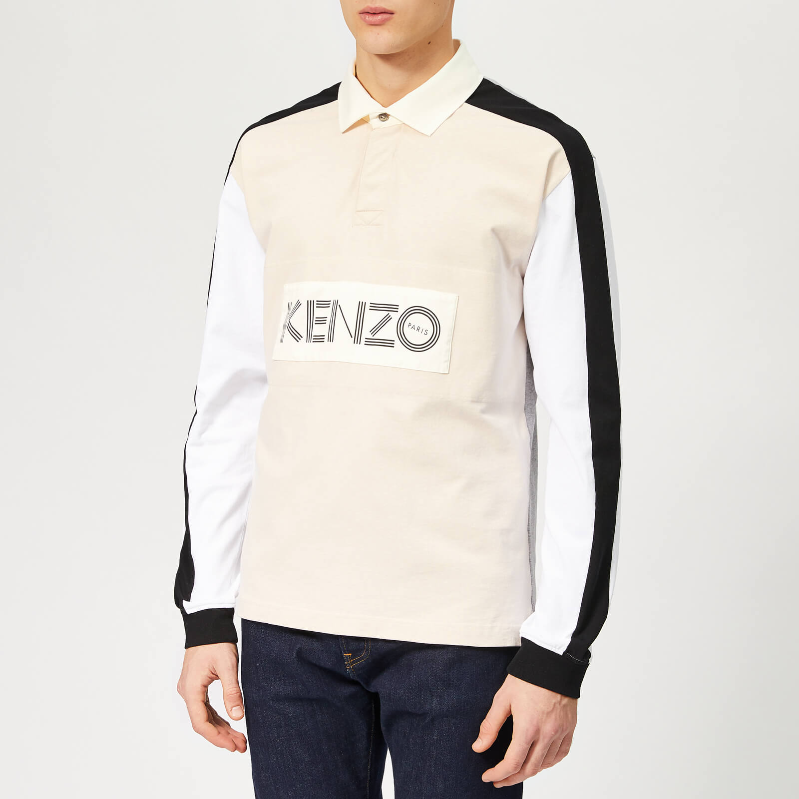 9f8aa66e KENZO Men's Chest Logo Rugby Polo Shirt - Cream - Free UK Delivery over £50