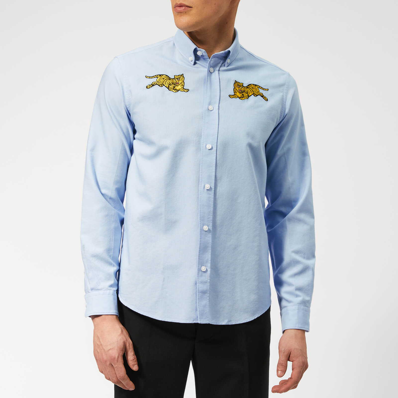 3fe0a100e KENZO Men's Jumping Tiger Oxford Shirt - Light Blue - Free UK Delivery over  £50