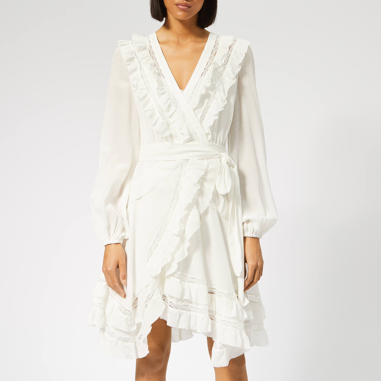 27f1b73abbca Zimmermann Women's Moncur Frill Wrap Short Dress - Pearl - Free UK Delivery  over £50