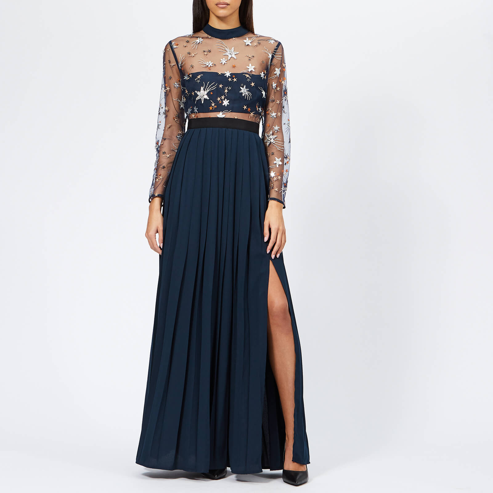e80632988a20 Self-Portrait Women's Star Tulle Embellished Maxi Dress - Navy - Free UK  Delivery over £50