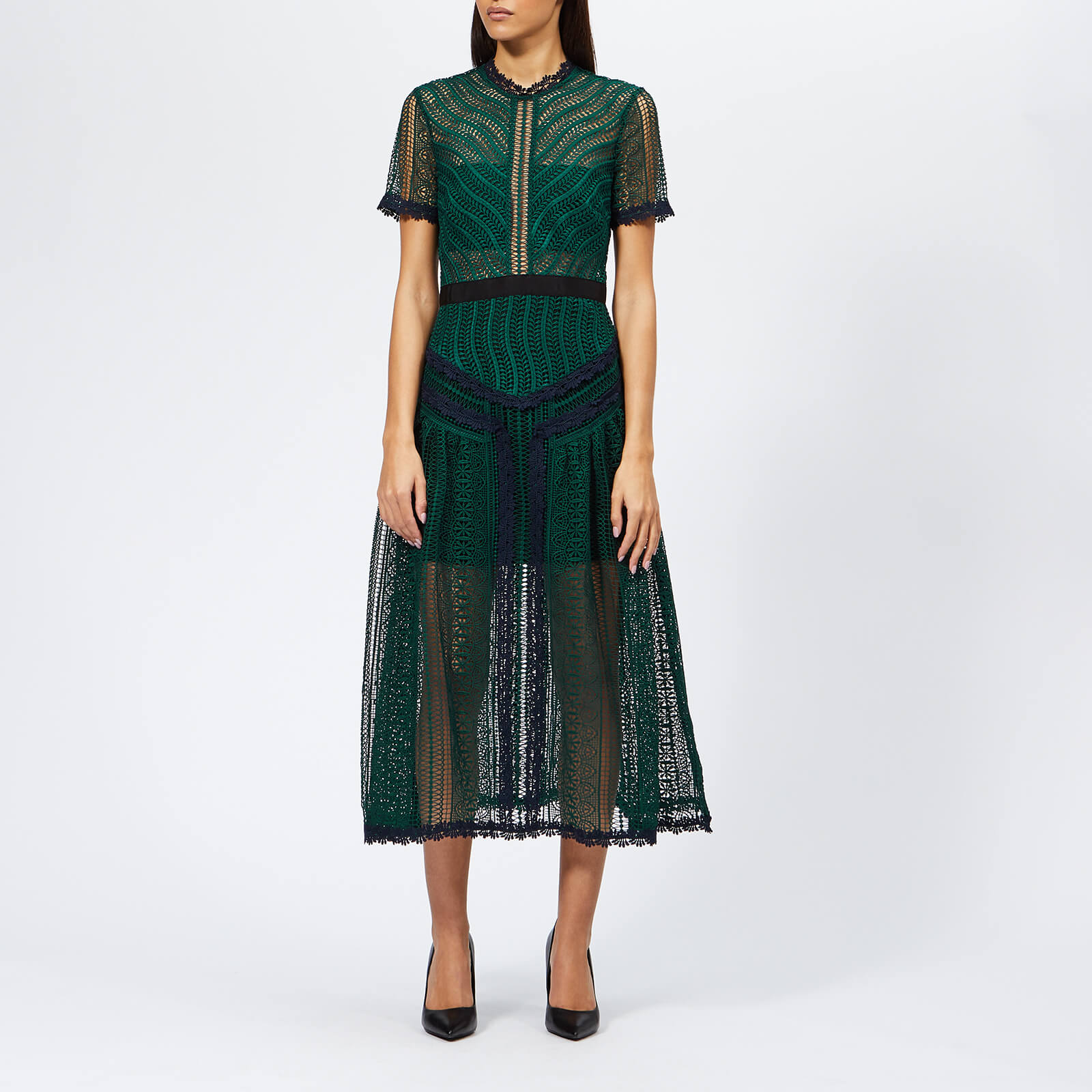 b16f816bc17ba Self-Portrait Women s Wave Lace Midi Dress - Green - Free UK ...