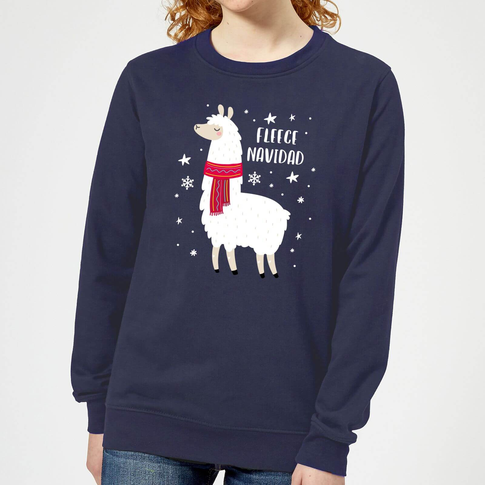 Fleece Navidad Womens Christmas Sweatshirt Navy Iwoot
