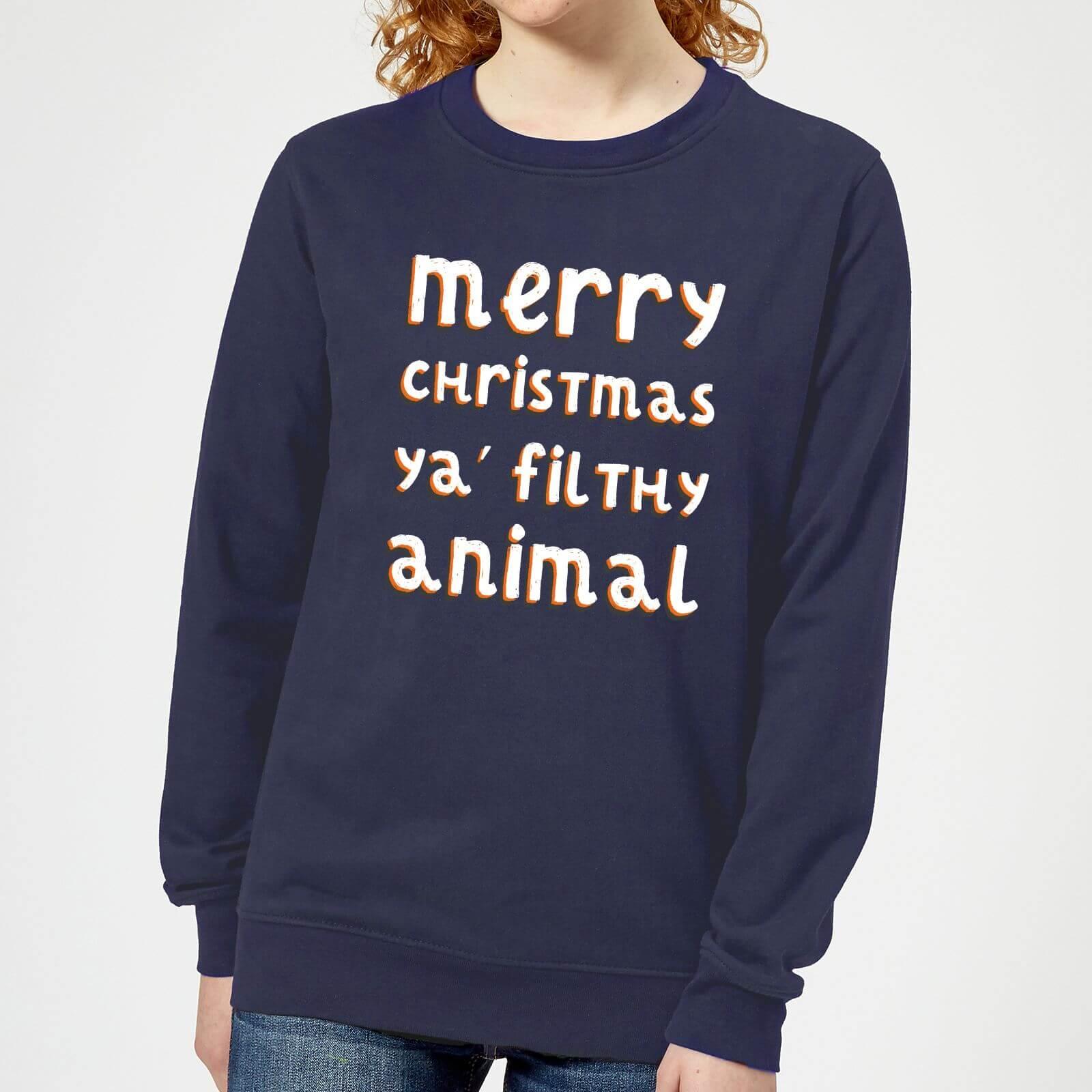Kersttrui Dames Katoen.Merry Christmas Ya Filthy Animal Dames Kersttrui Navy Zavvi Nl