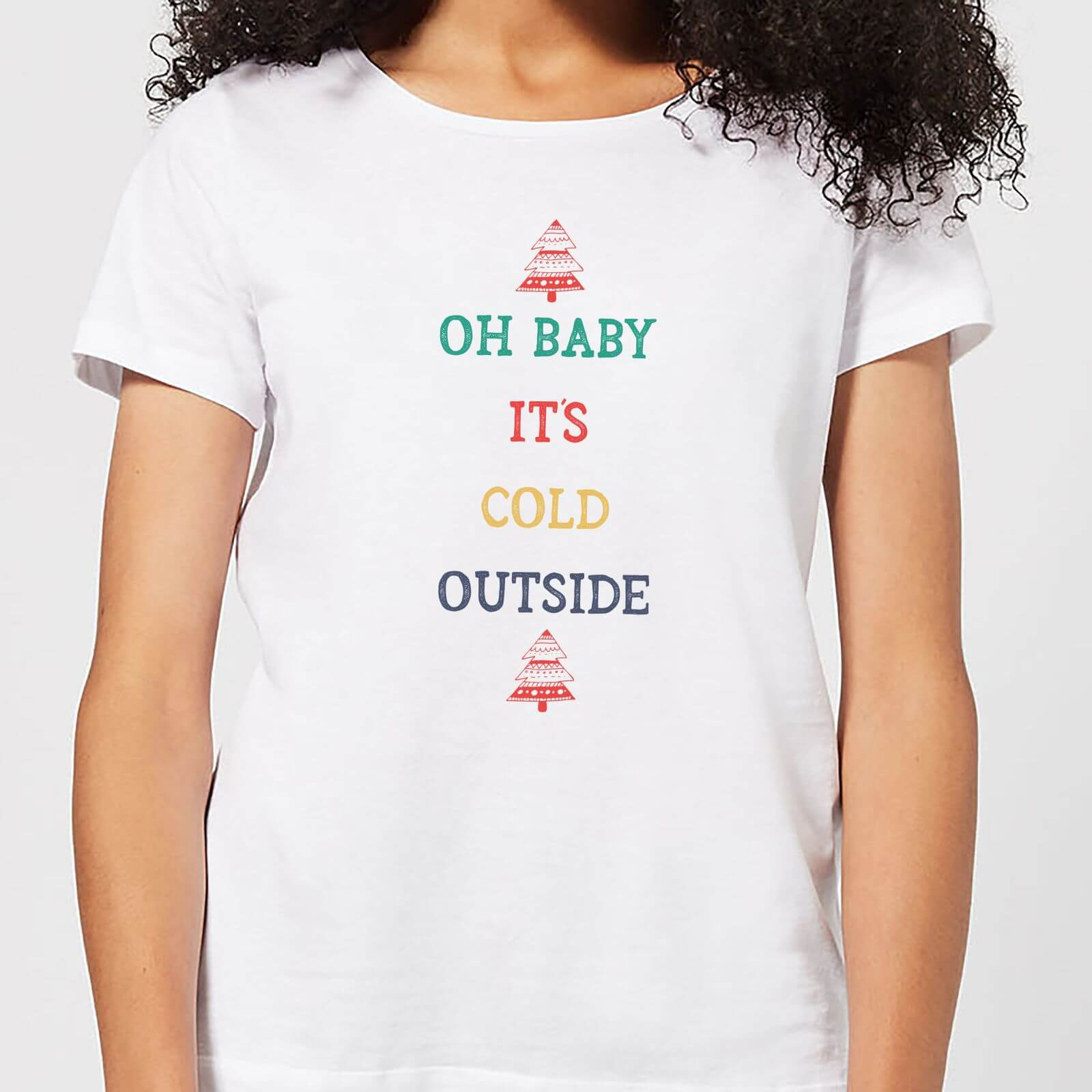 606ee6cc9904 Oh Baby It's Cold Outside Women's Christmas T-Shirt - White Clothing | Zavvi