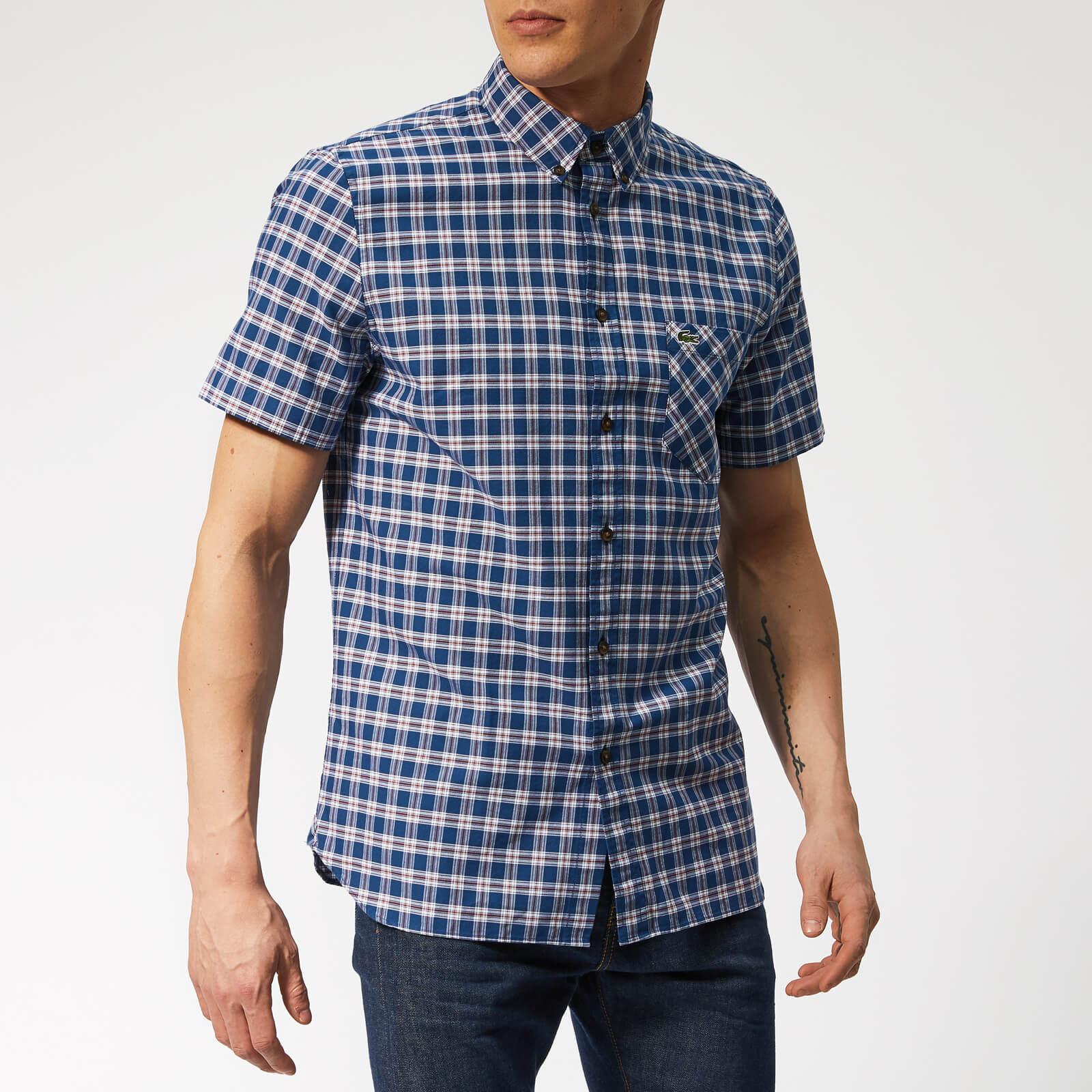 7a1ecd615b Lacoste Men's Oxford Check Short Sleeve Shirt - Inkwell/Iberis
