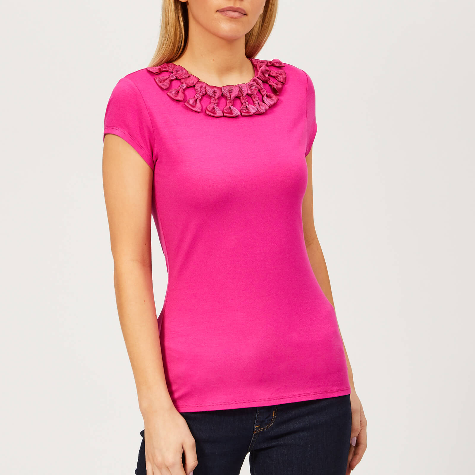 c345ae32050ea Ted Baker Women s Charre Bow Neck Trim Detail T-Shirt - Bright-Pink Womens  Clothing
