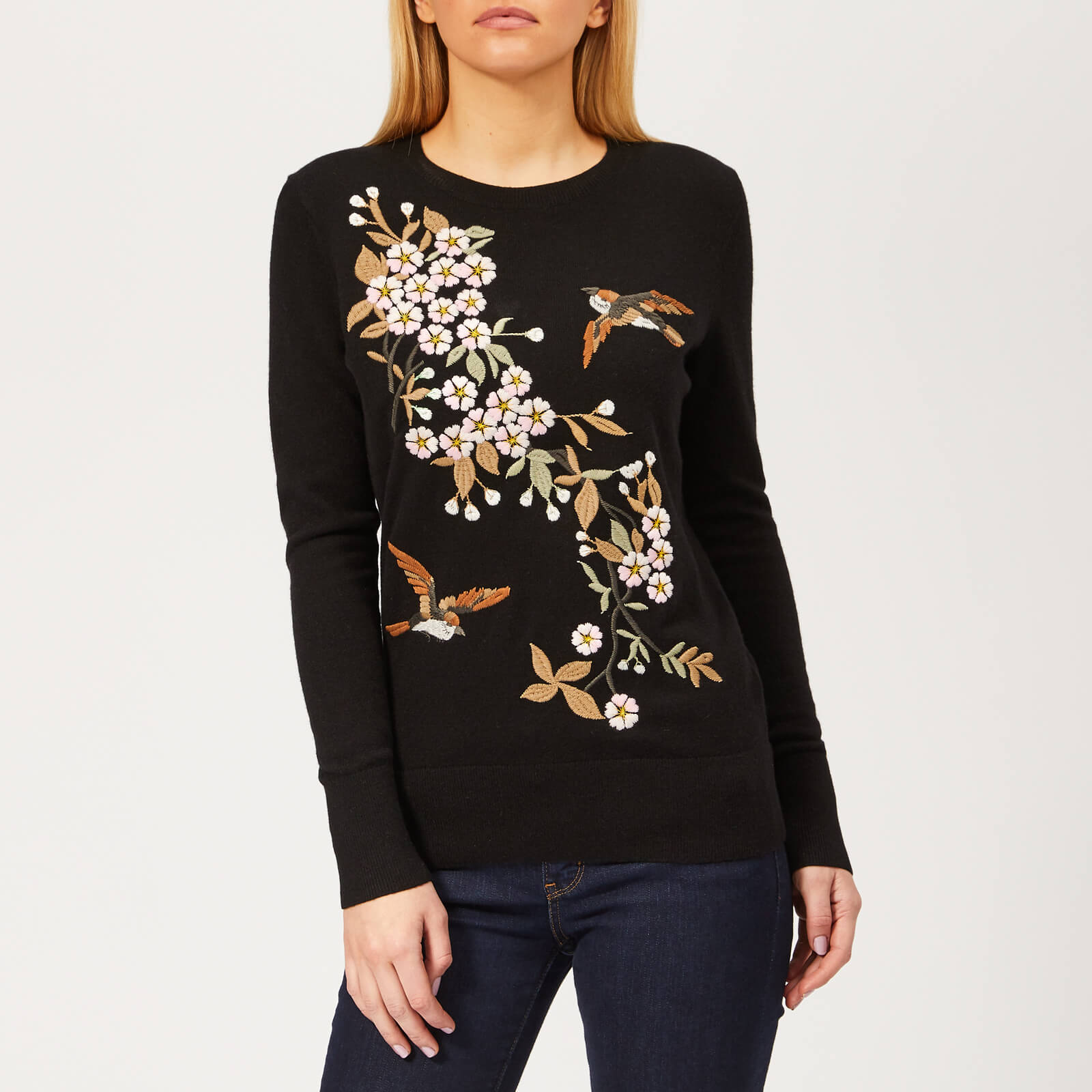 c2003e2b938 Ted Baker Women's Helliah Graceful Embroidery Jumper - Black Womens  Clothing | TheHut.com