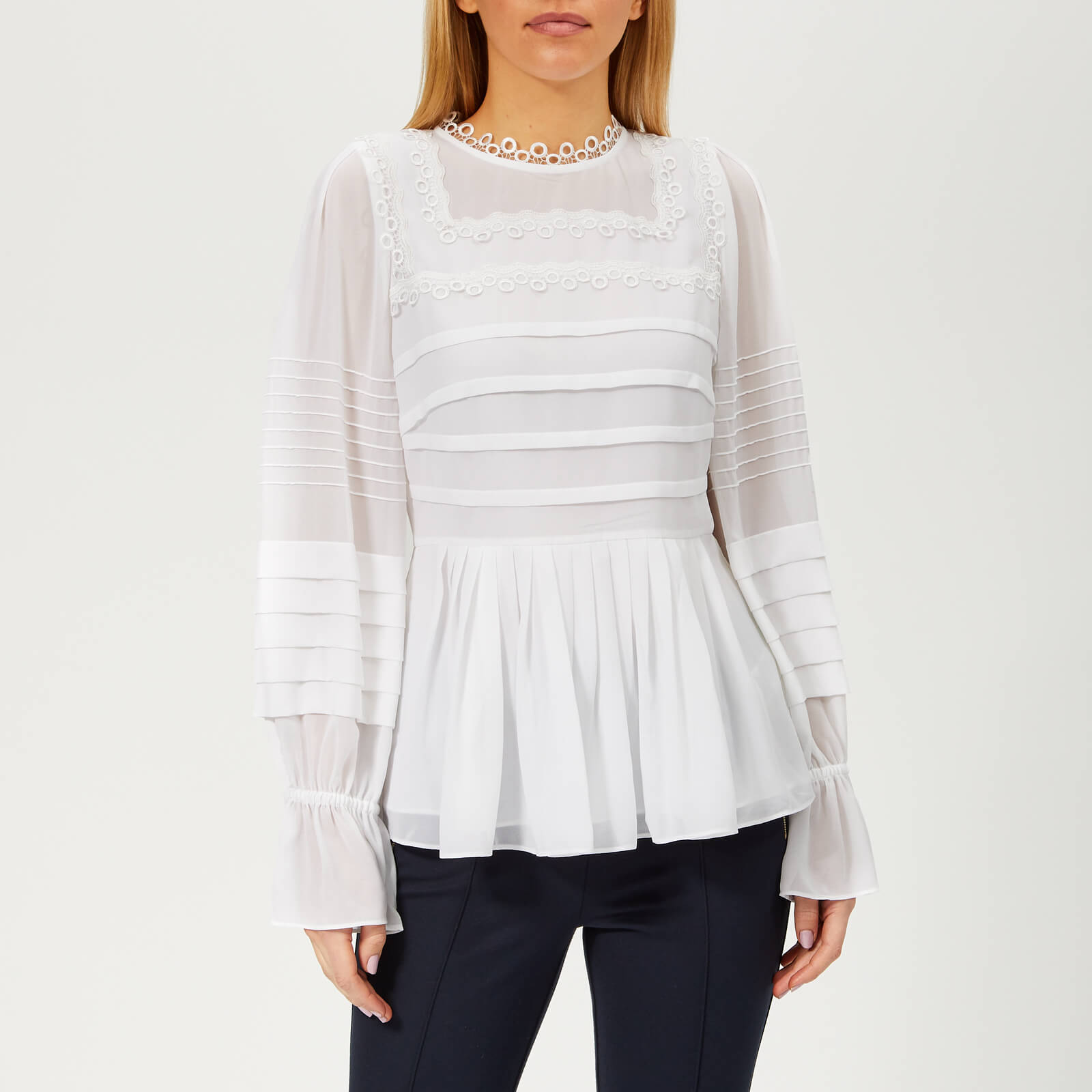 b1a29ff01 Ted Baker Women s Roobee Pintuck Detailing Long Sleeve Top - White Womens  Clothing