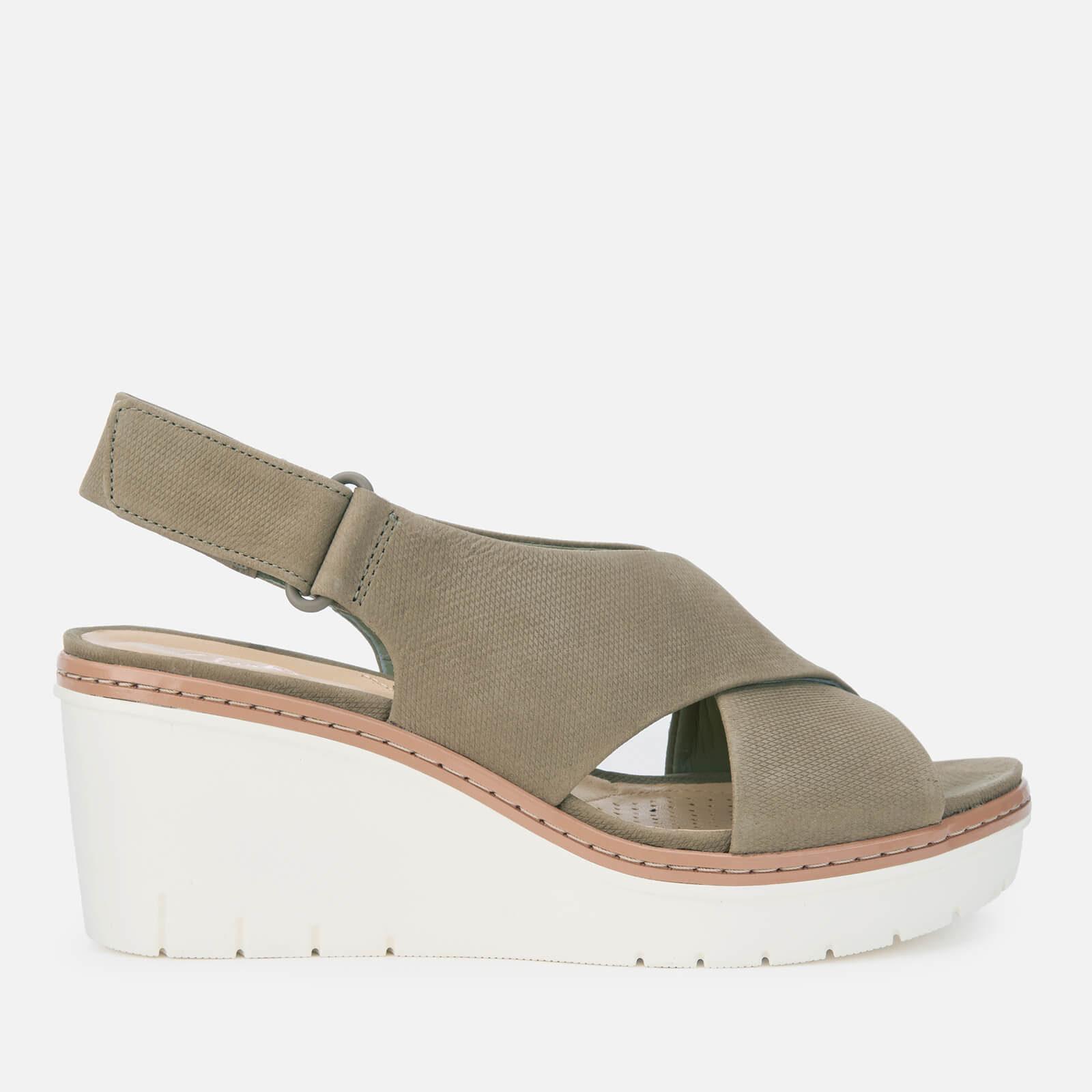 037a595364dc Clarks Women s Palm Candid Nubuck Wedged Sandals - Olive Womens Footwear