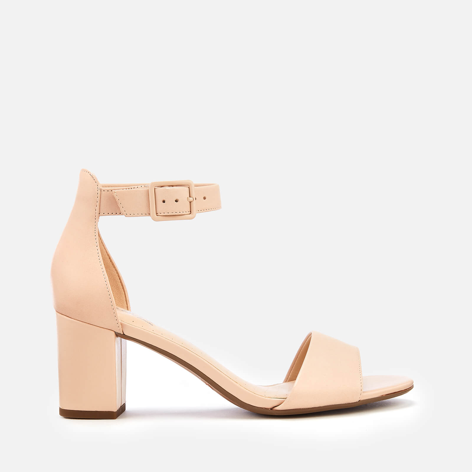 17c0b9a6f Clarks Women's Deva Mae Leather Block Heeled Sandals - Nude | FREE UK  Delivery | Allsole