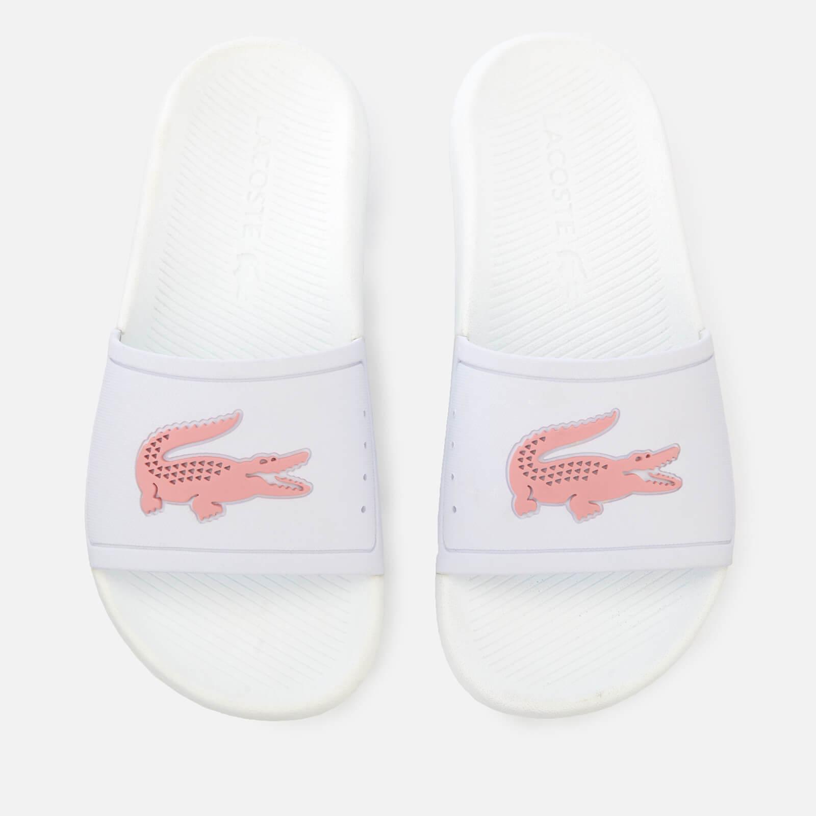 05633ee8c Lacoste Women s Croco Slide 119 3 Sandals - White Light Pink Womens  Footwear
