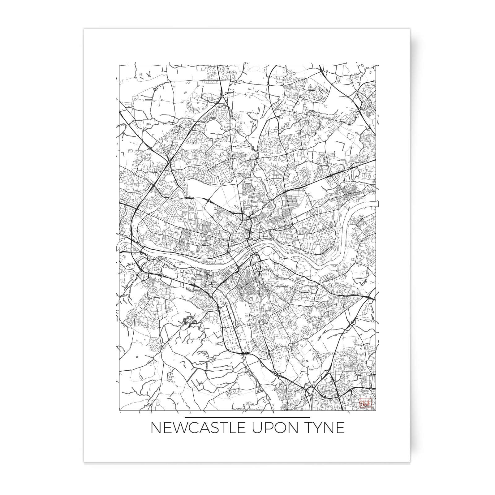 City Art Black and White Outlined Newcastle Map Art Print