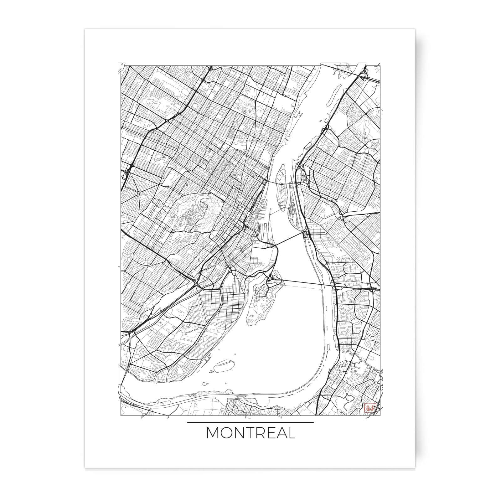photo about Printable Map of Montreal named Metropolis Artwork Black and White Mentioned Montreal Map Artwork Print