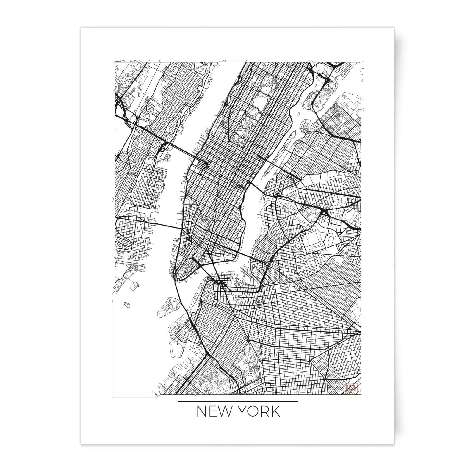 New York Map Black And White.Black And White Outlined New York Map Art Print Homeware Zavvi