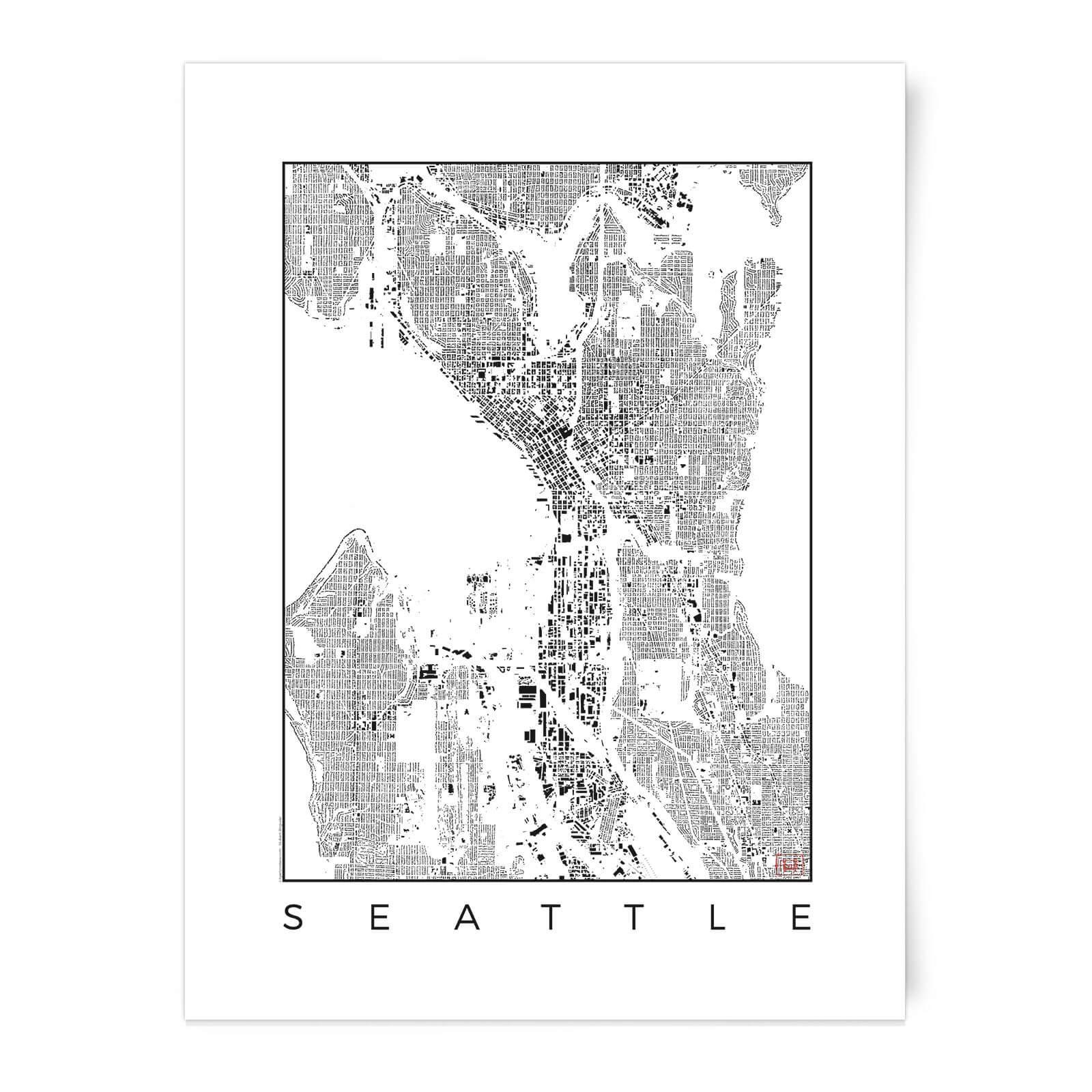 Black And White Seattle Map Art Print Iwoot