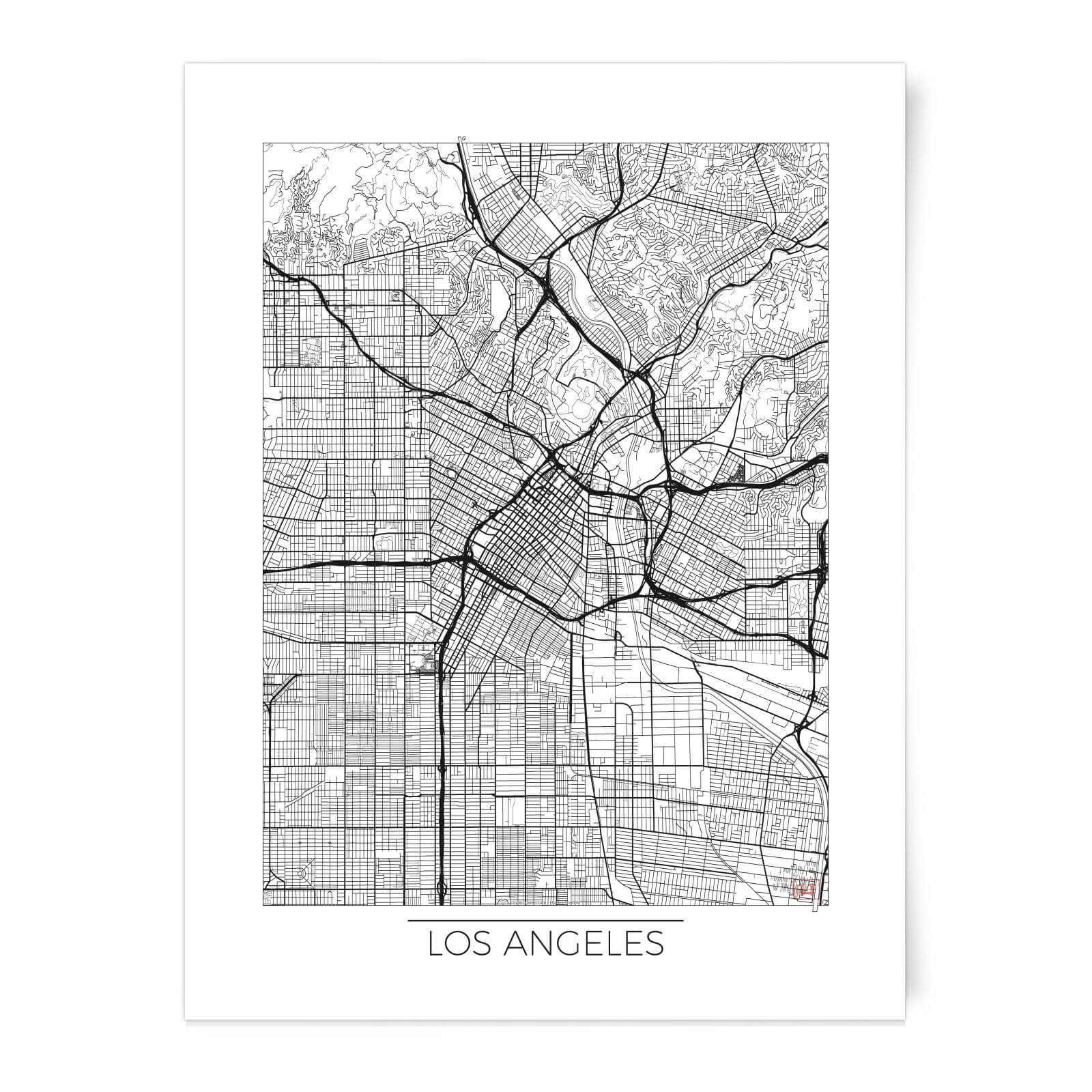 City Art Black And White Outlined Los Angeles Map Art Print Homeware - Los-angeles-in-us-map