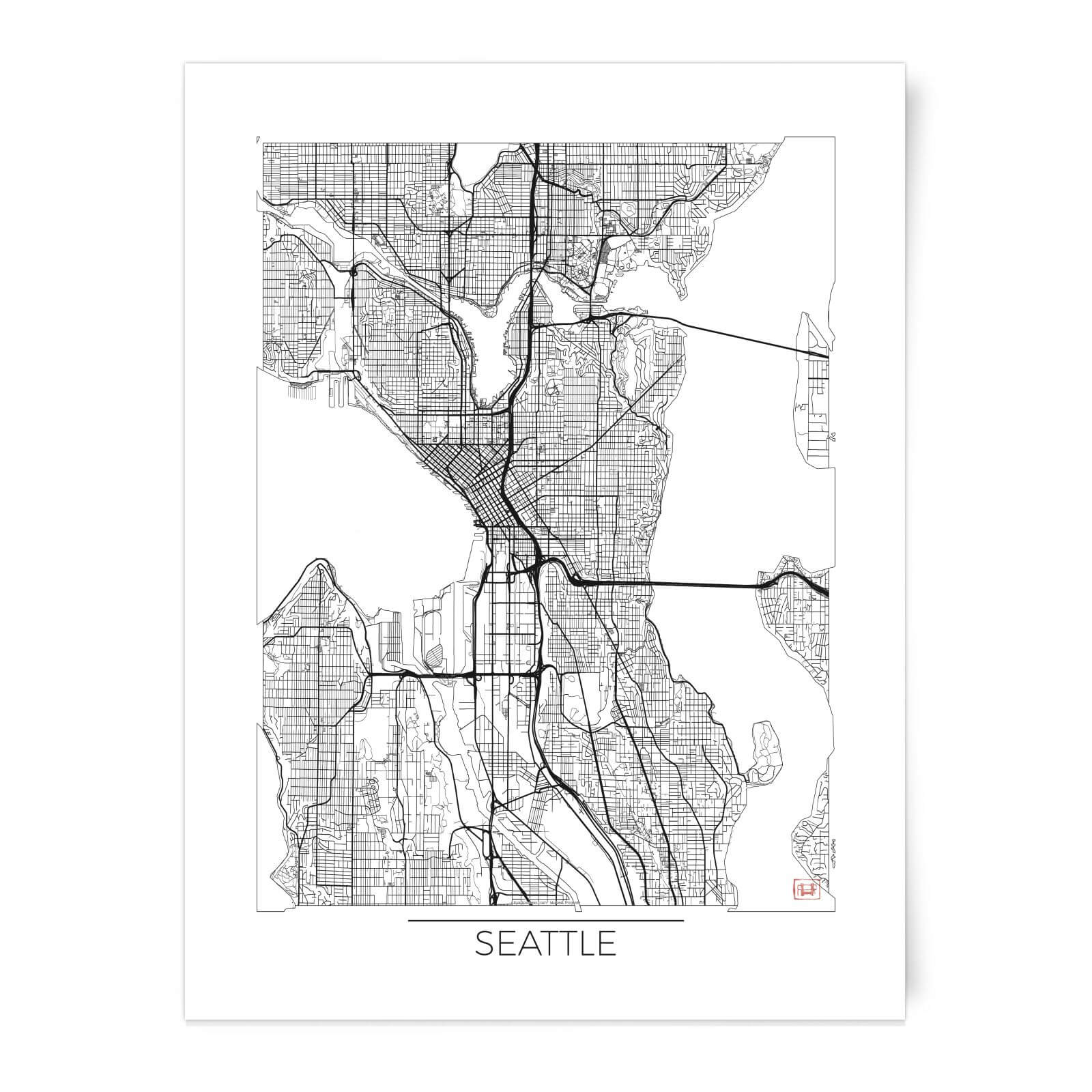 Black And White Outlined Seattle Map Art Print Iwoot