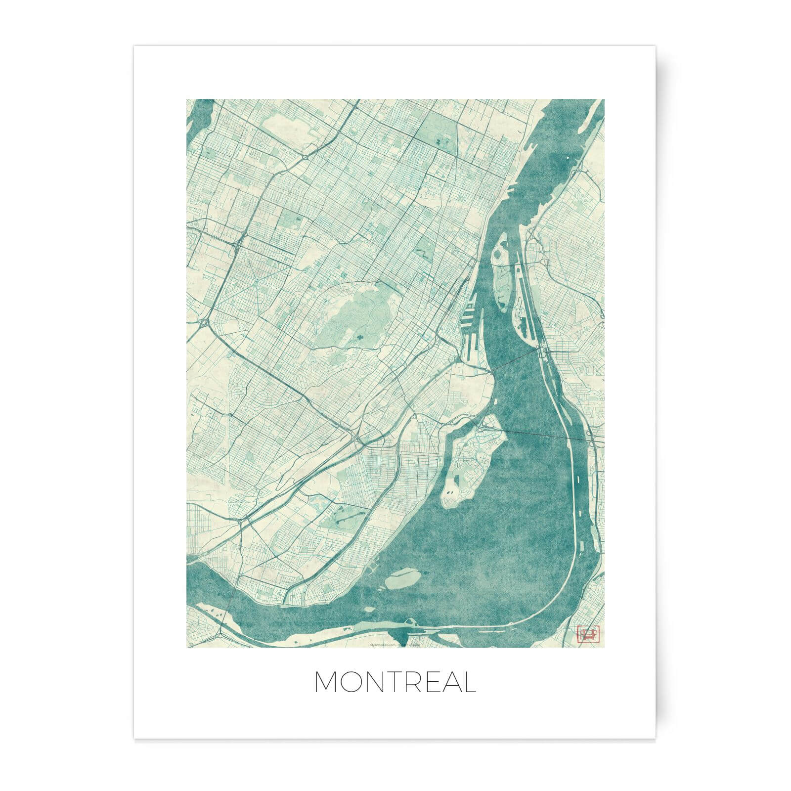 picture about Printable Map of Montreal named Metropolis Artwork Colored Montreal Map Artwork Print