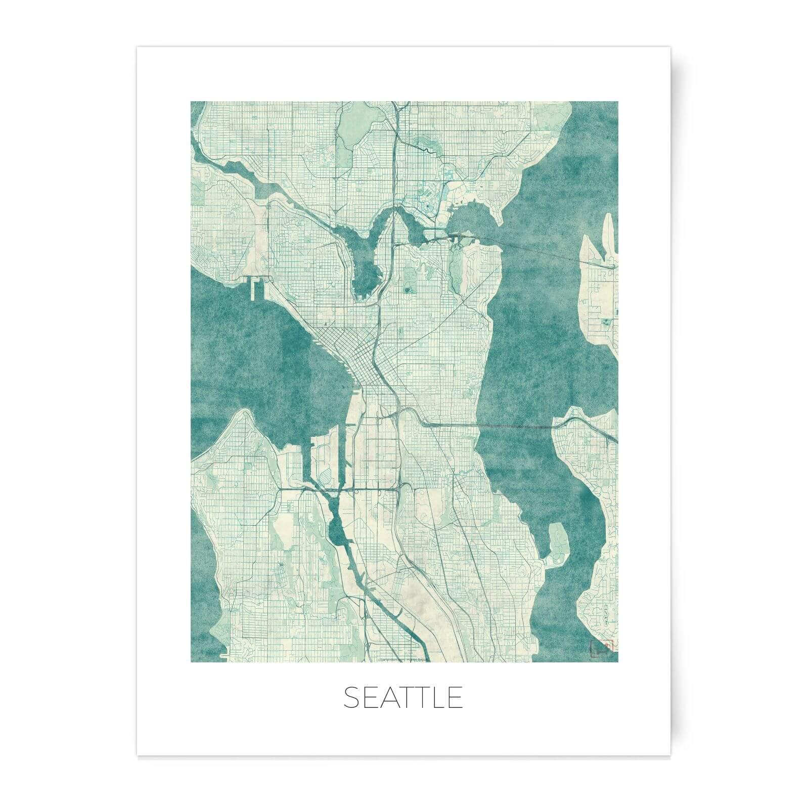 Coloured Seattle Map Art Print Iwoot