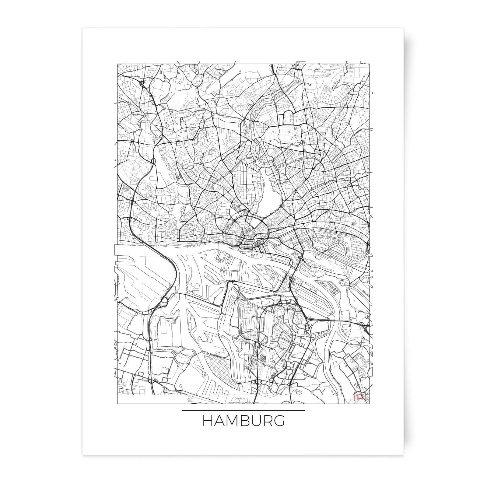 Australia Map Art.City Art Black And White Outlined Hamburg Map Art Print