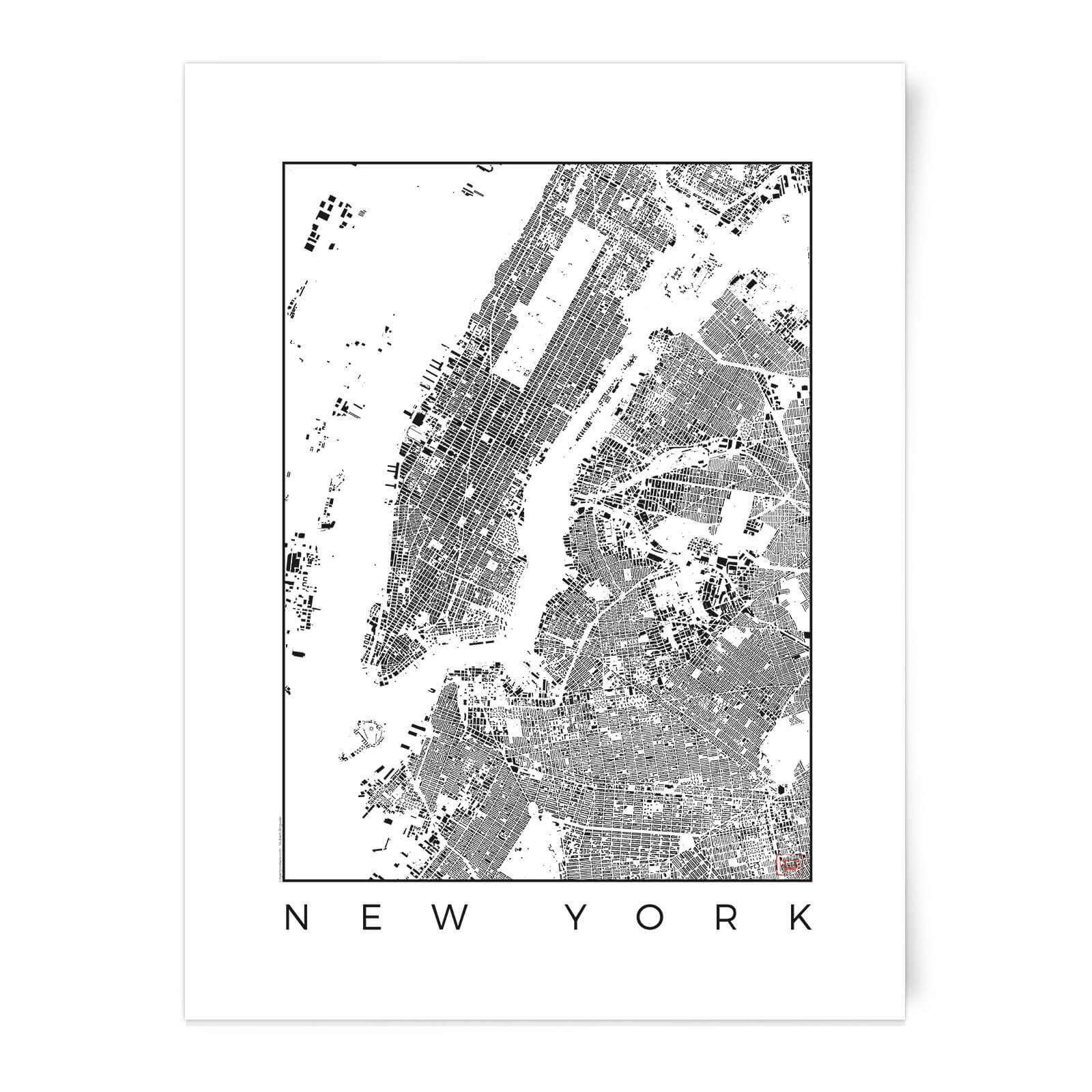 New York Map Black And White.Black And White New York Map Art Print Iwoot