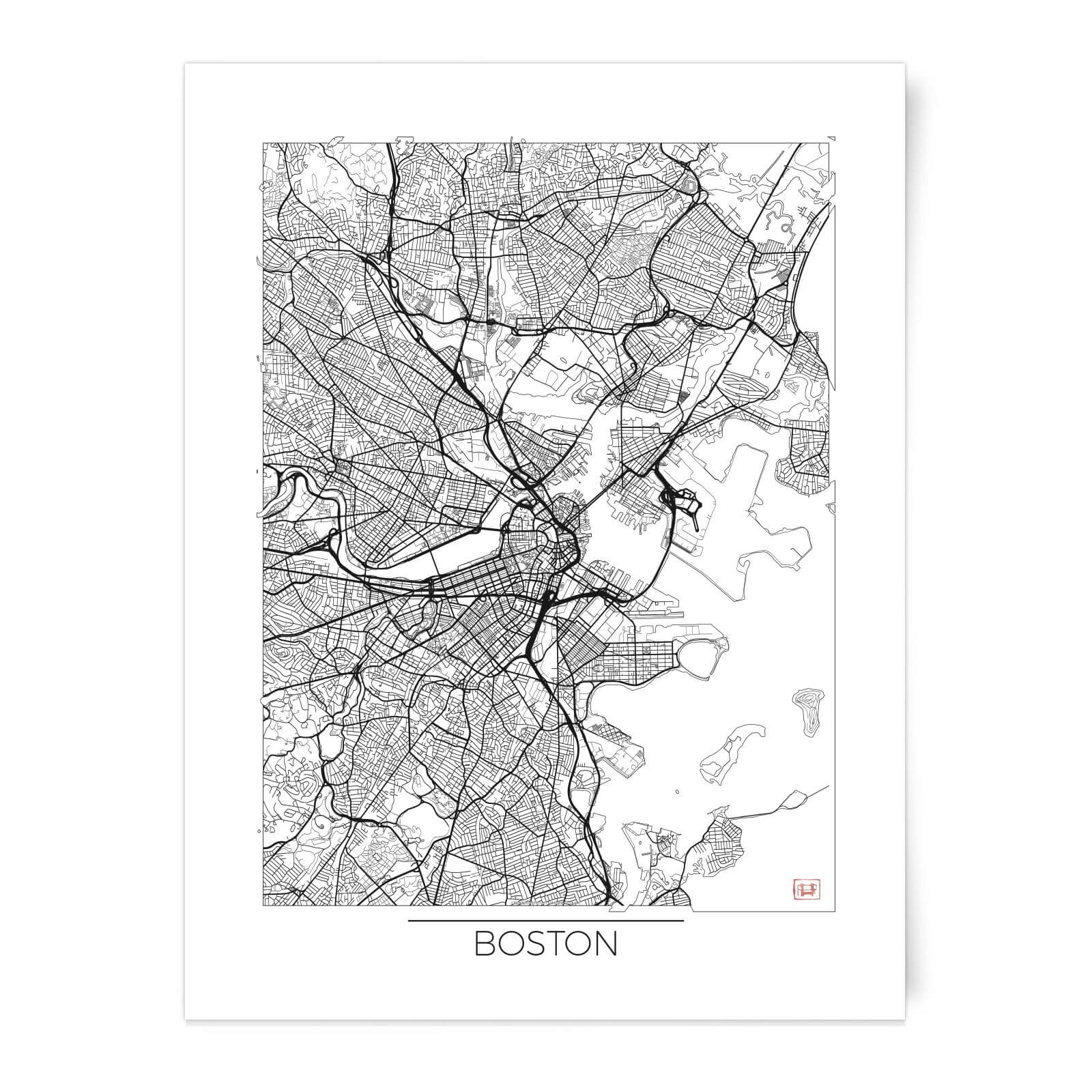 Black And White Outlined Boston Map Art Print Iwoot