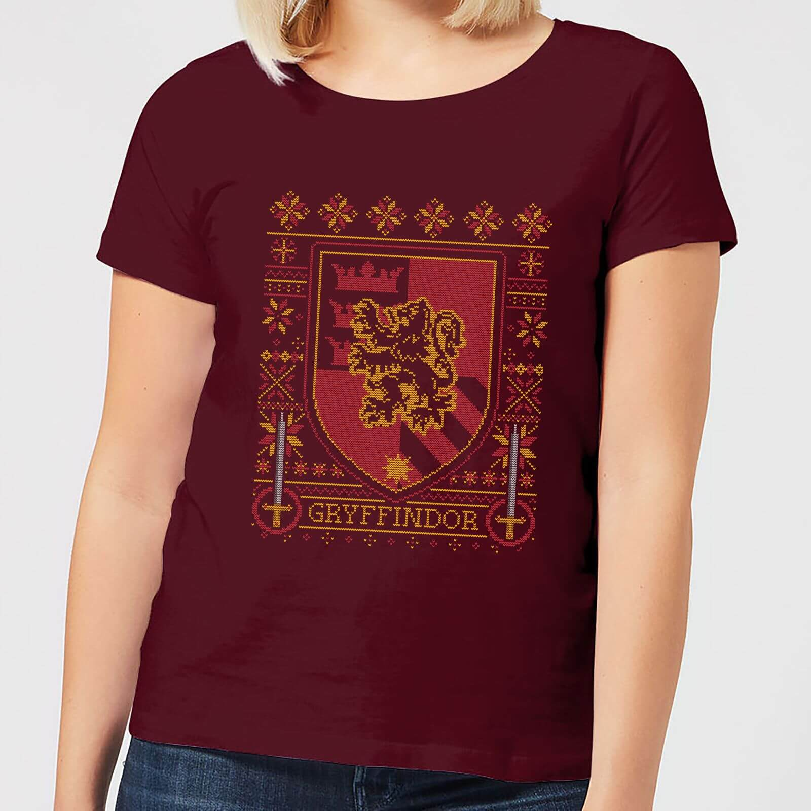 893150b49923c5 Harry Potter Gryffindor Crest Women's Christmas T-Shirt - Burgundy Clothing  | Zavvi
