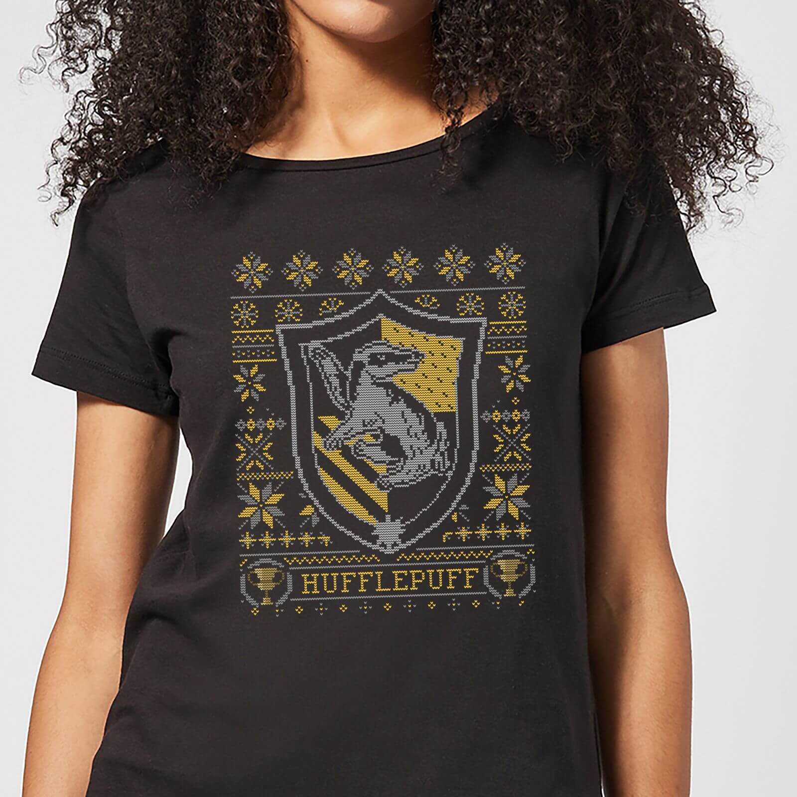 736bdf7d Harry Potter Hufflepuff Crest Women's Christmas T-Shirt - Black Clothing    Zavvi