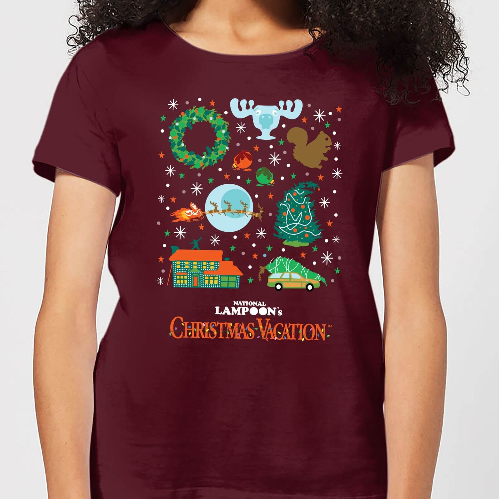 Griswold Christmas.National Lampoon Griswold Christmas Starter Pack Women S Christmas T Shirt Burgundy