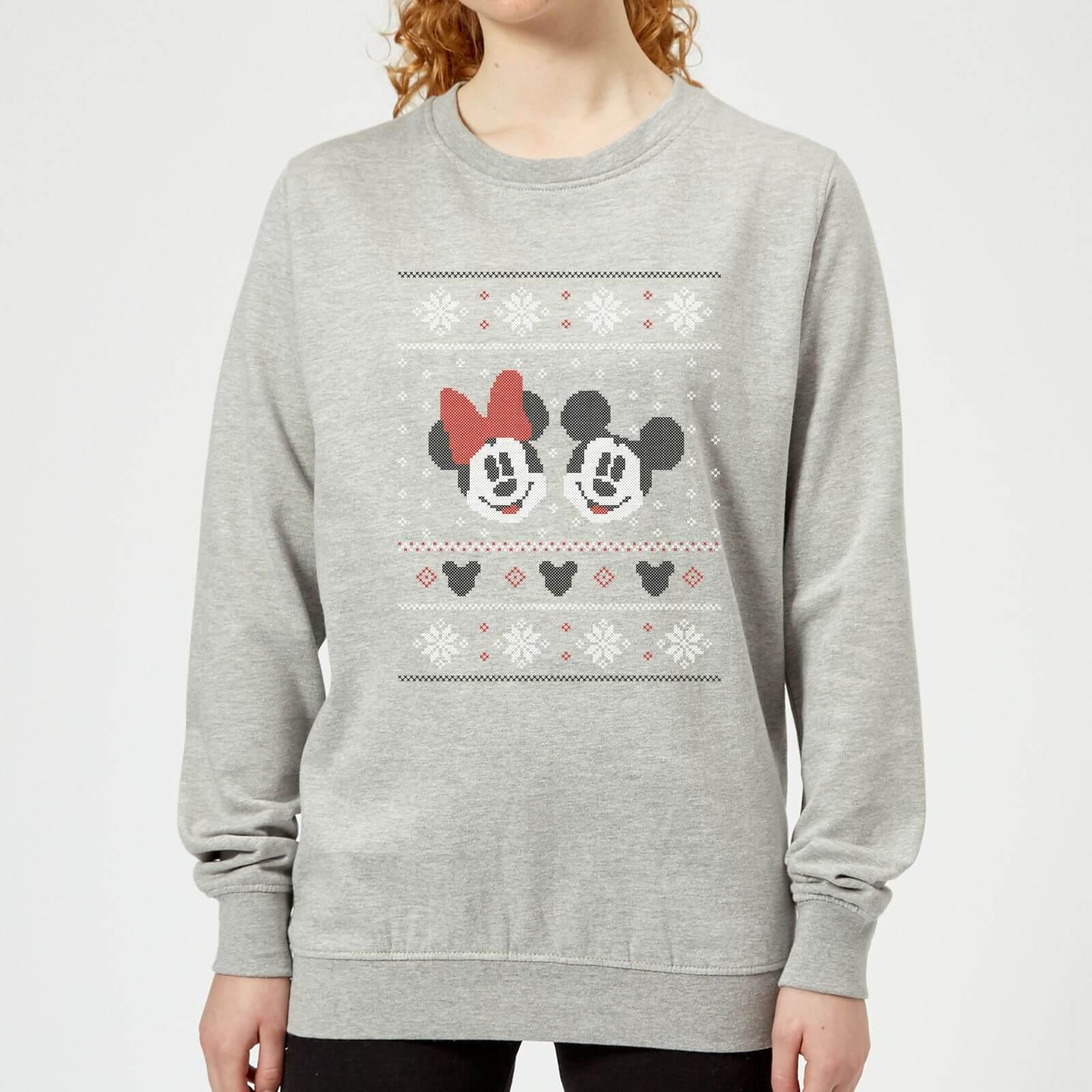 Disney Mickey And Minnie Womens Christmas Sweatshirt Grey