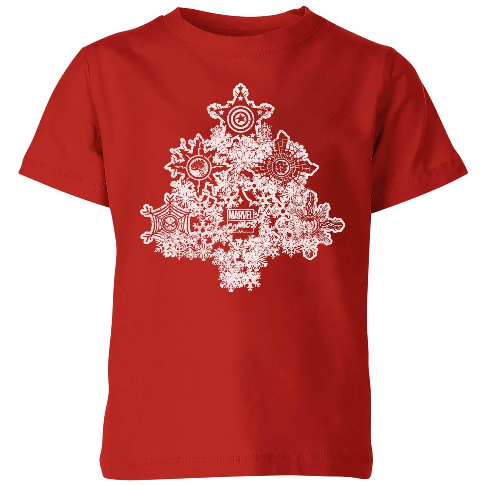 2f93c0e8d Marvel Shields Snowflakes Kids' Christmas T-Shirt - Red Clothing | Zavvi