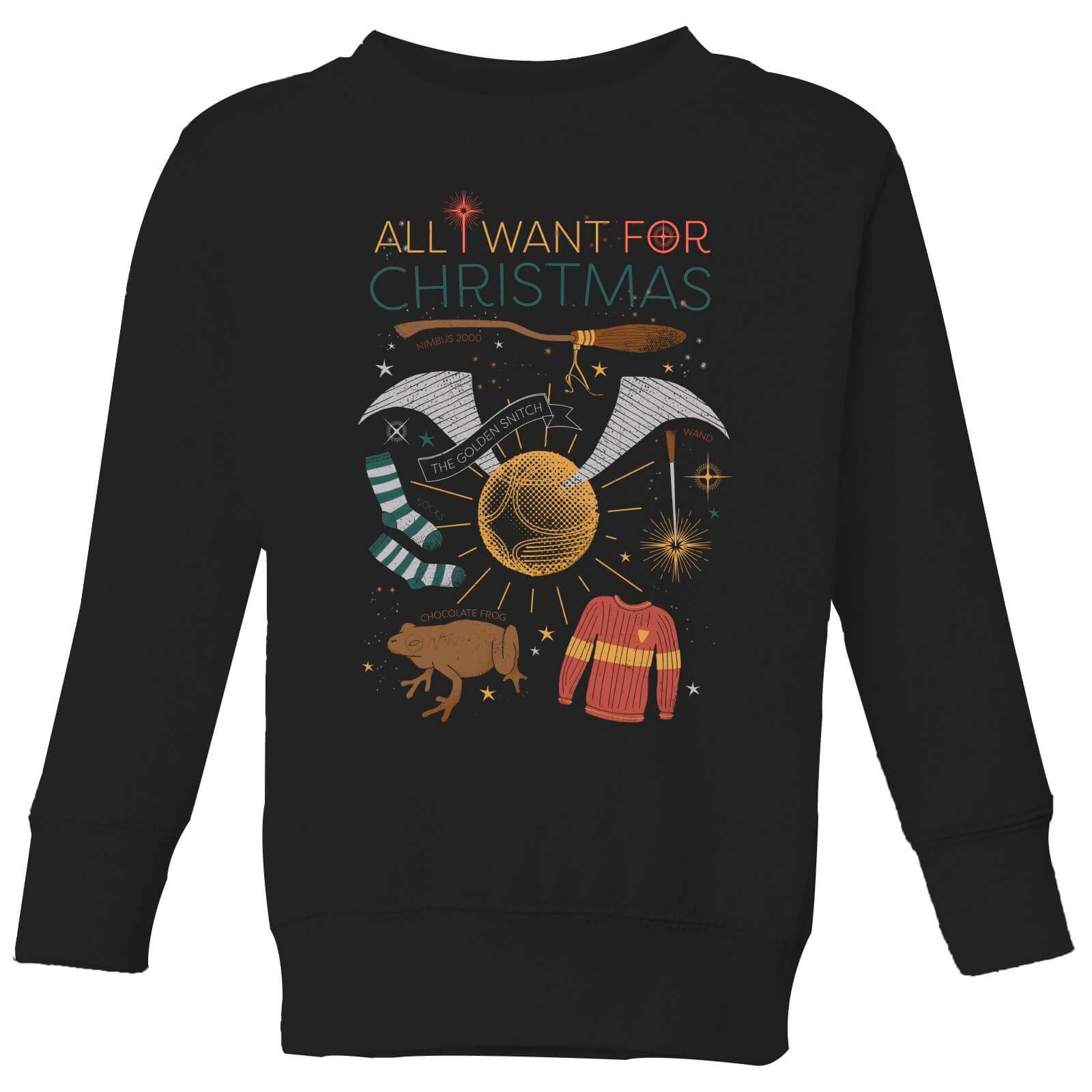 3e391969c Harry Potter All I Want Kids' Christmas Sweatshirt - Black | IWOOT