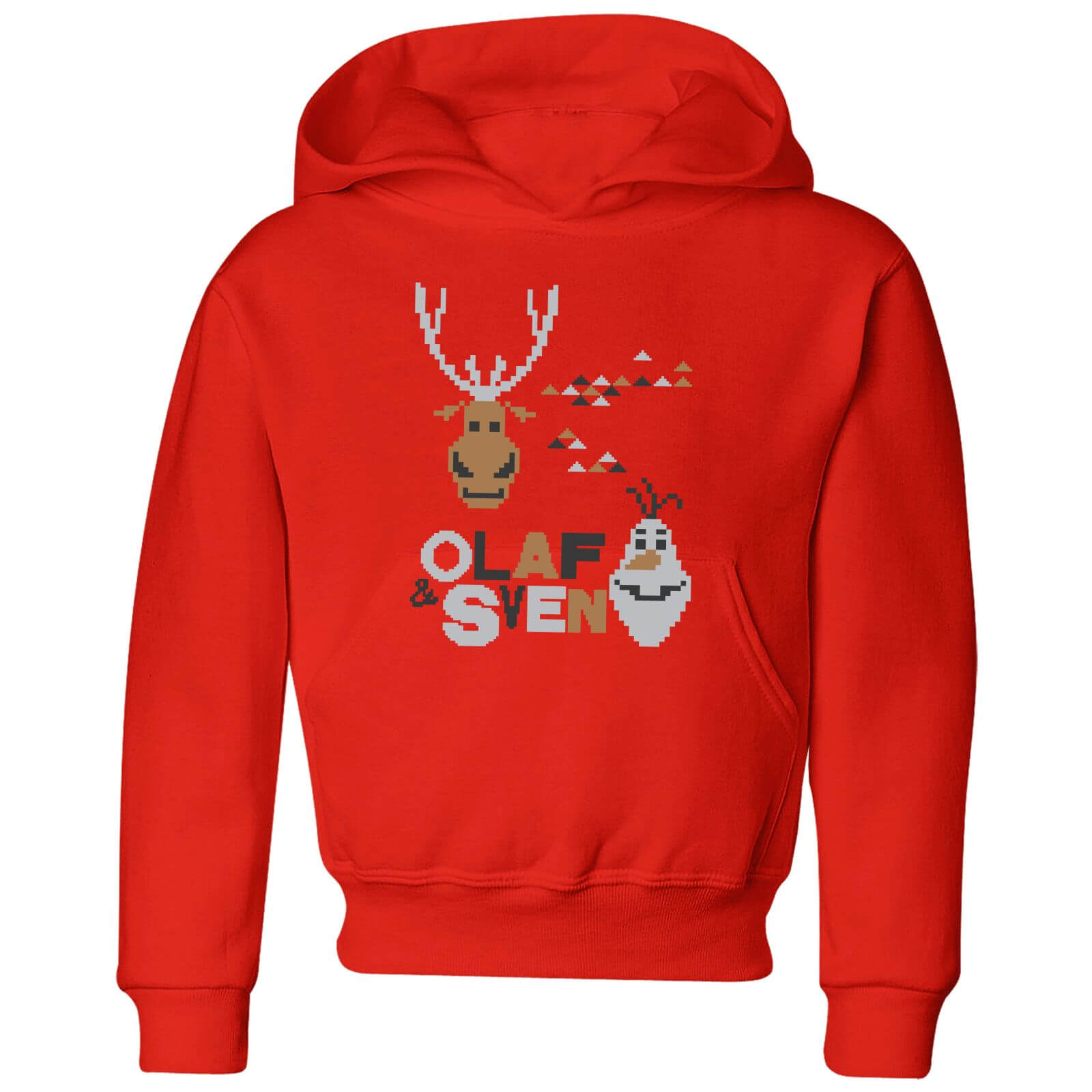 Frozen Olaf And Sven Kids\' Christmas Hoodie - Red | IWOOT