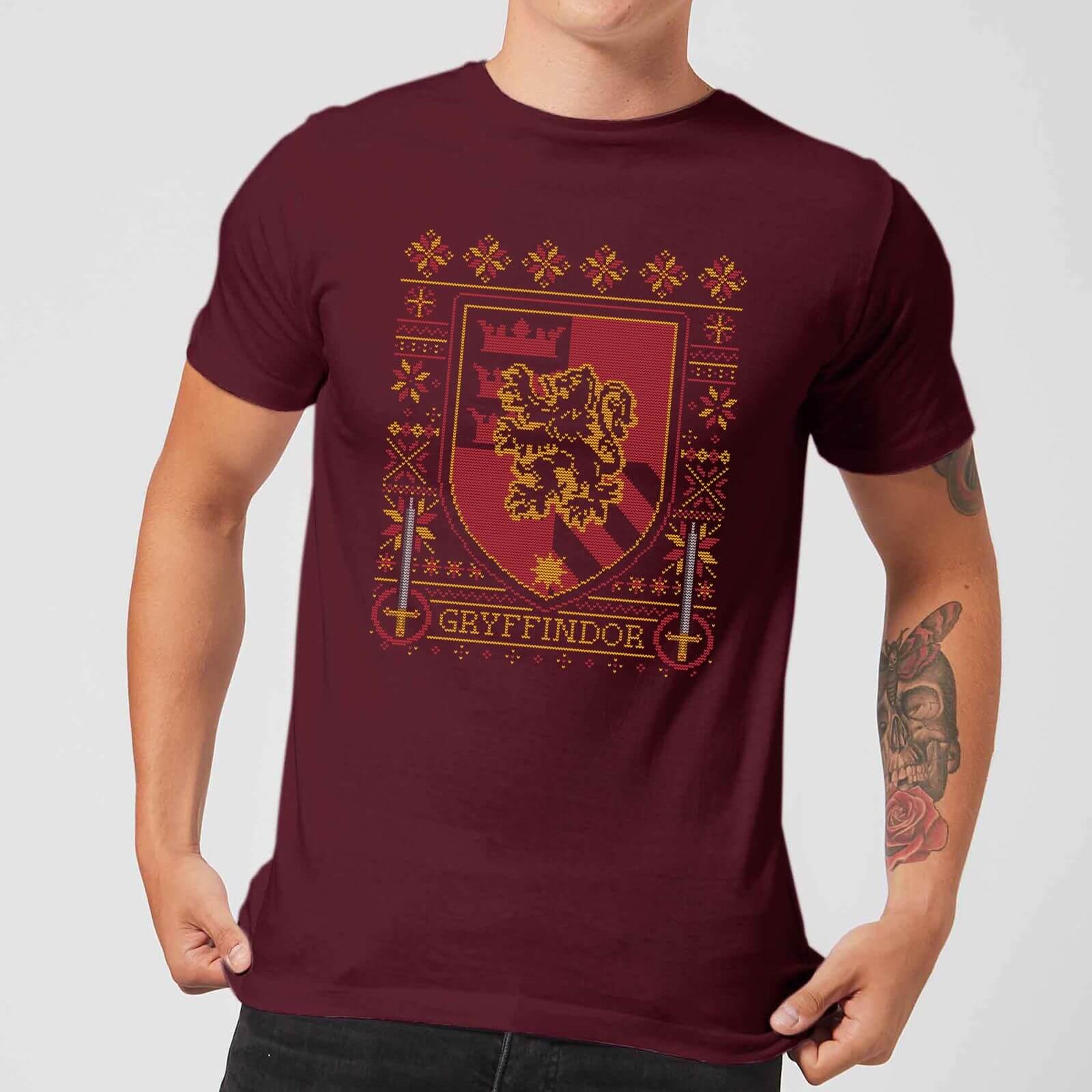 Harry Potter Christmas Shirt.Harry Potter Gryffindor Crest Men S Christmas T Shirt Burgundy