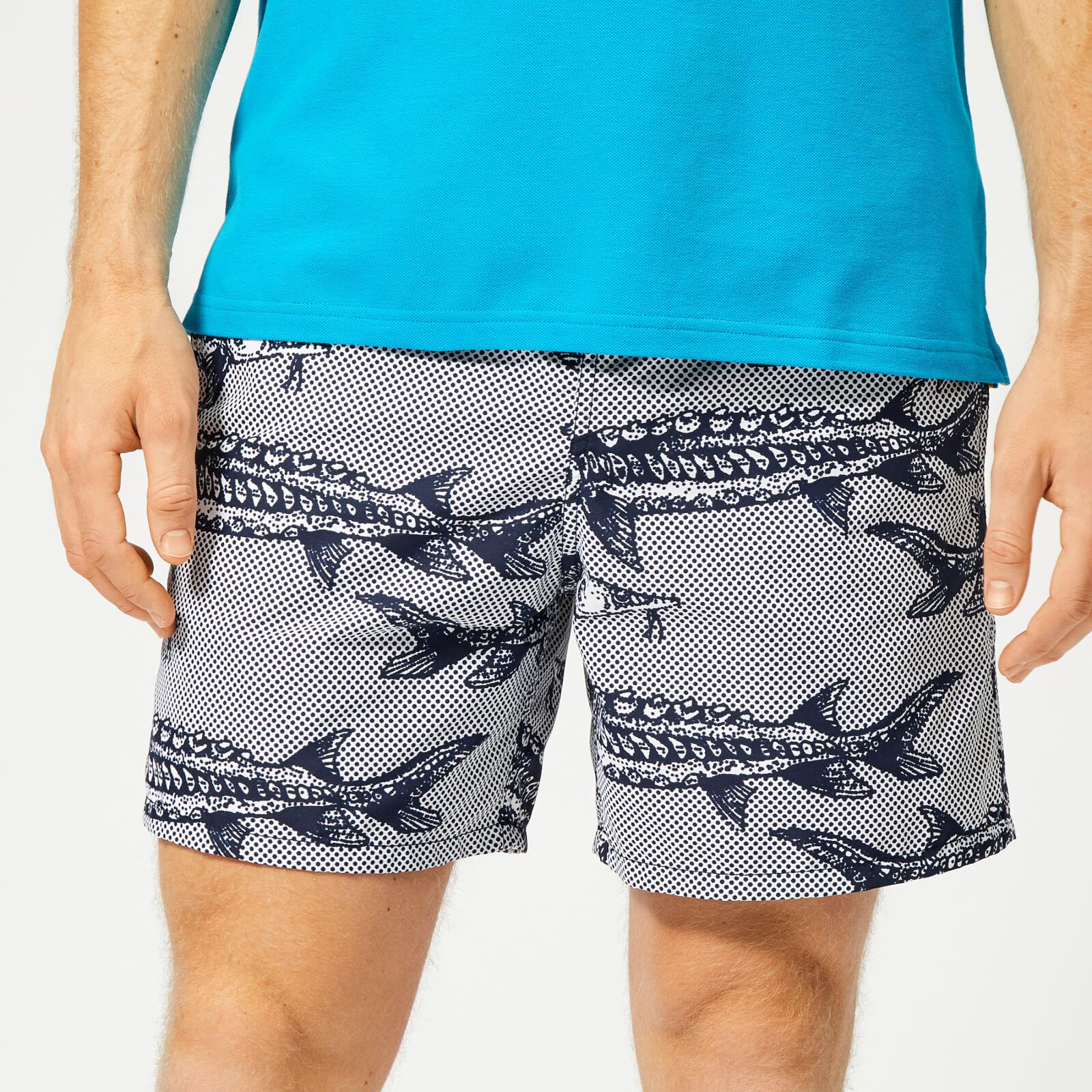 feaa99e81e1d9 Vilebrequin Men's Moorea Large Fish Print Swim Shorts - White - Free UK  Delivery over £50