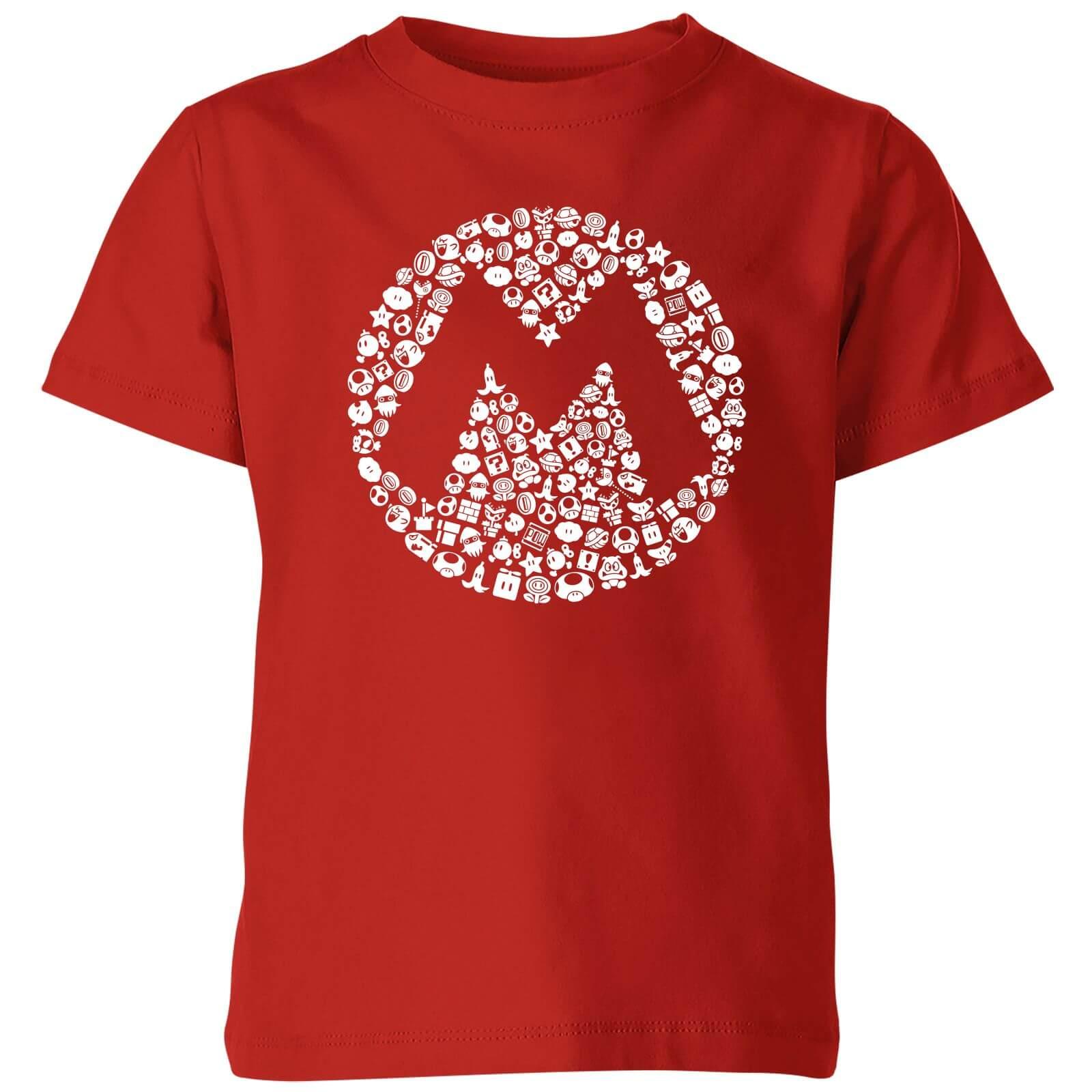 9ad7a829 Nintendo Super Mario Mario Items Logo Kid's T-Shirt - Red | IWOOT