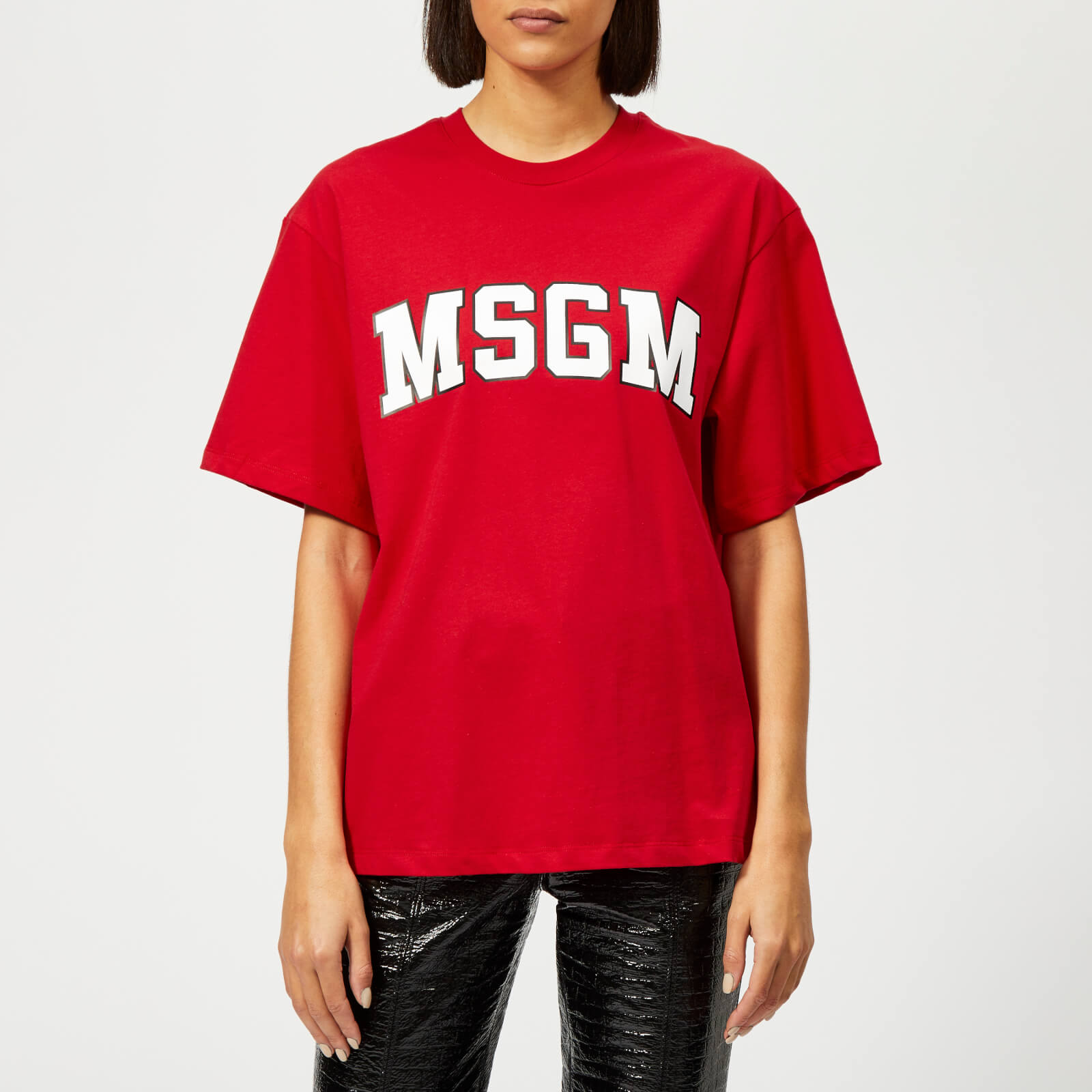 332af64a MSGM Women's College Logo T-Shirt - Red - Free UK Delivery over £50