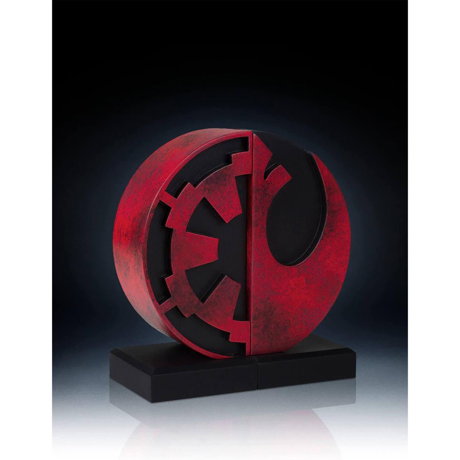 Gentle giant star wars bookends imperial rebel logo 15 cm merchandise zavvi